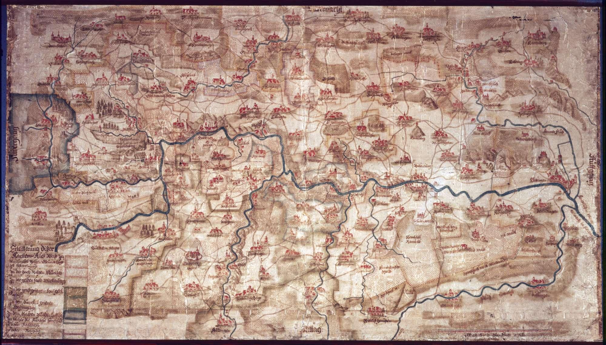 Karte über die einzelnen Herrschaftsgebiete im Bereich von Nagold im Norden, Tübingen im Osten, Owingen im Süden und Leinstetten im Westen, Bild 1