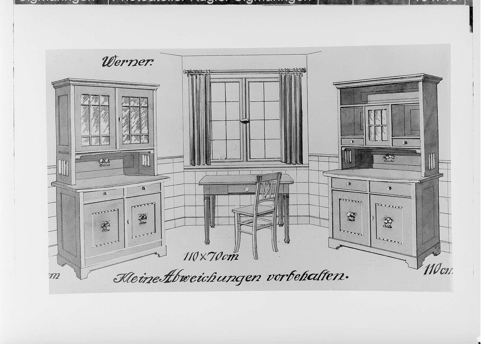 Möbelfabrik Gebrüder Frank in Sigmaringen; Möbelzeichnung, Bild 1
