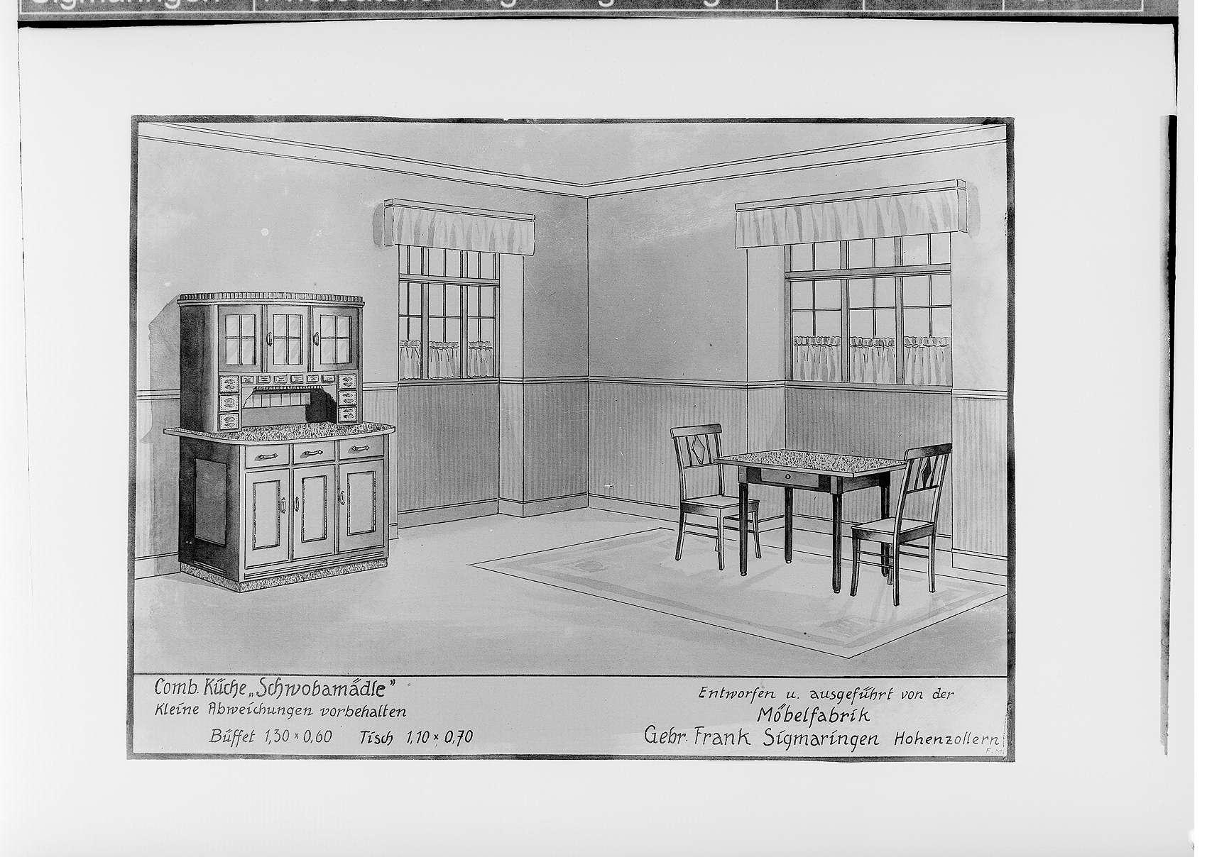 Möbelfabrik Gebrüder Frank in Sigmaringen; Zeichnung der Küchenmöbel