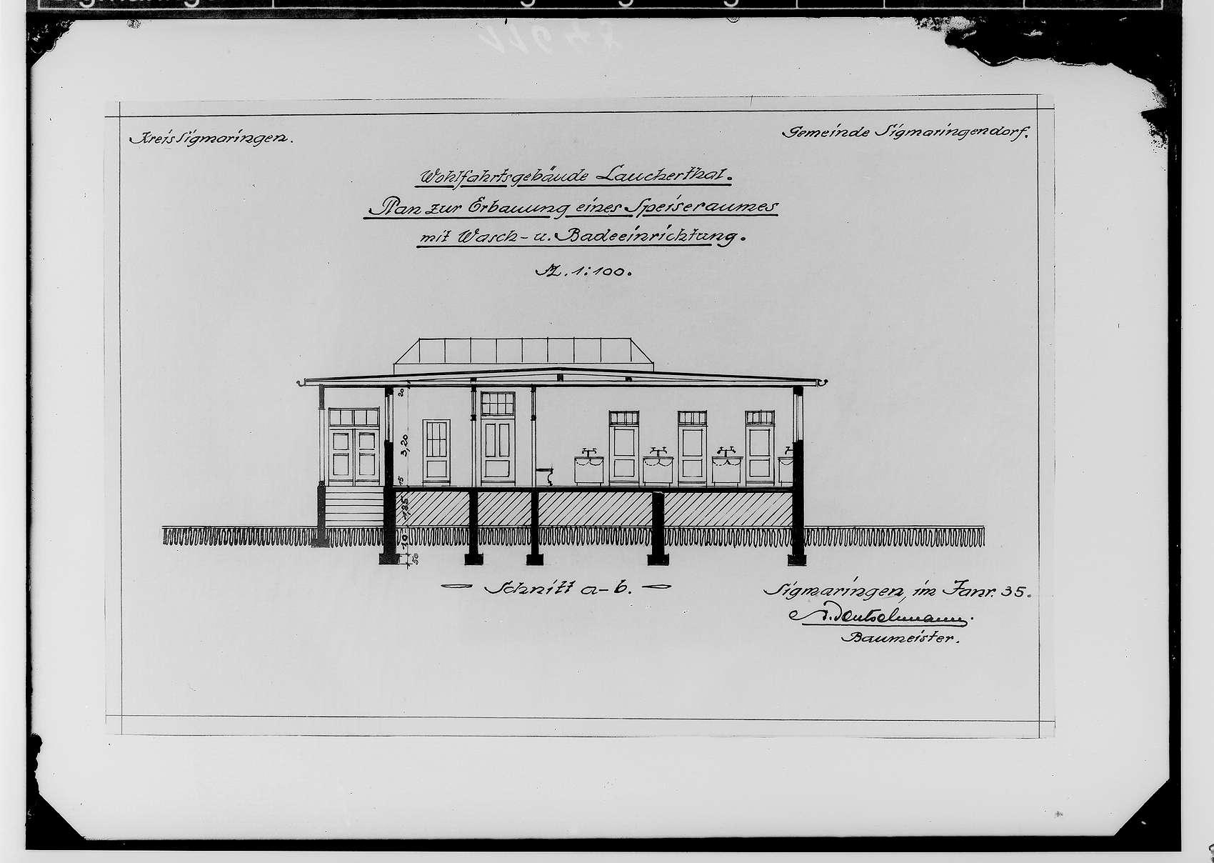 Wohlfahrtsgebäude Lauchertal der Gemeinde Sigmaringendorf 1935; Plan zur Erbauung eines Speiseraumes mit Wasch- und Badeeinrichtung - Aufriß, Bild 1