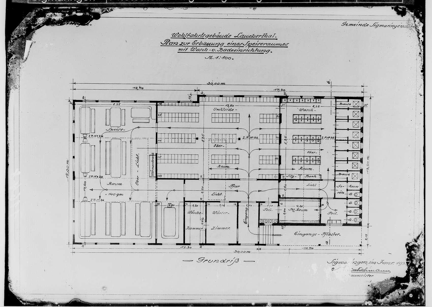 Wohlfahrtsgebäude Lauchertal der Gemeinde Sigmaringendorf 1935; Plan zur Erbauung eines Speiseraumes mit Wasch- und Badeeinrichtung - Grundriß, Bild 1