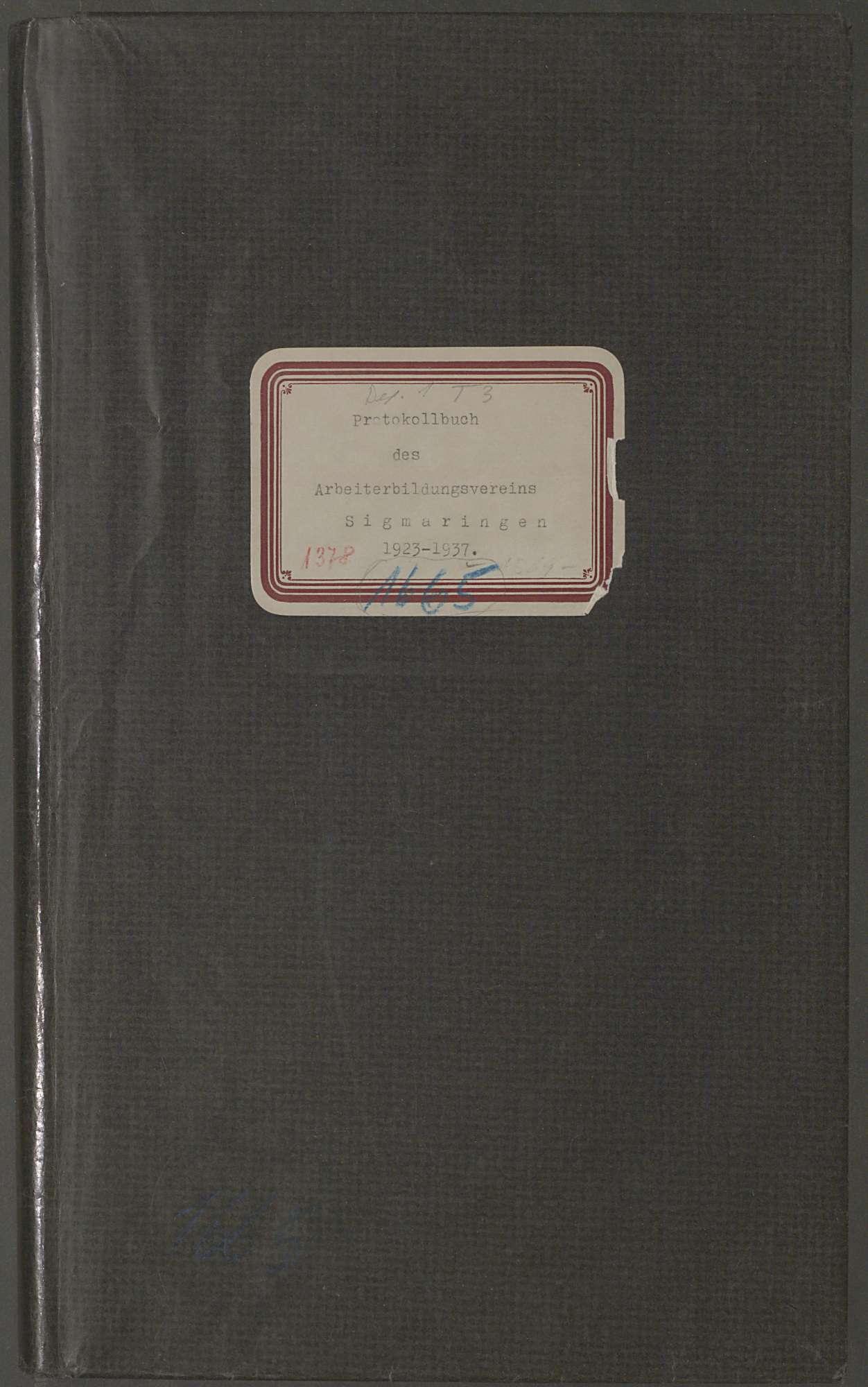 Protokollbuch des Arbeiterbildungsvereins Sigmaringen, Bild 1