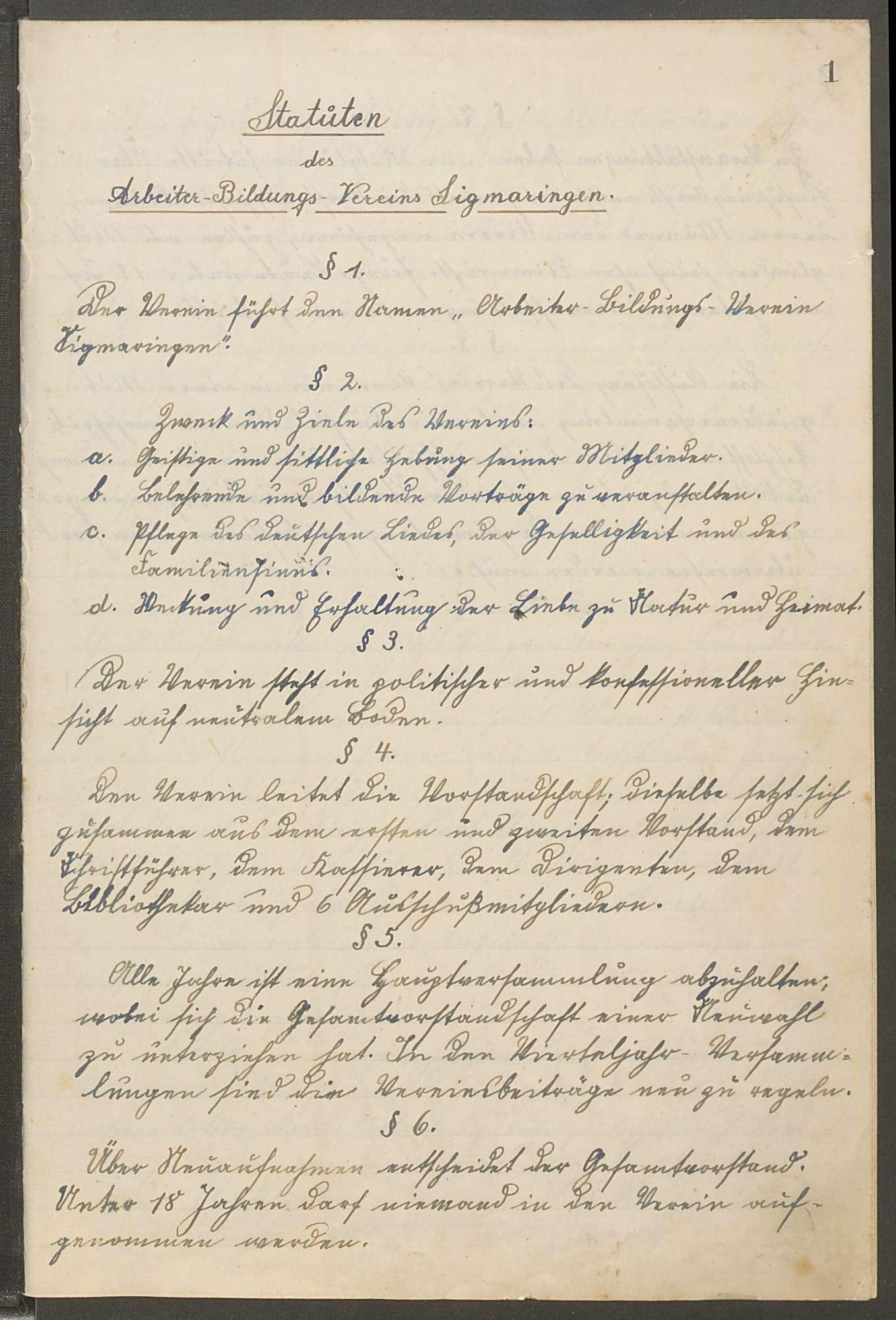 Protokollbuch des Arbeiterbildungsvereins Sigmaringen, Bild 3