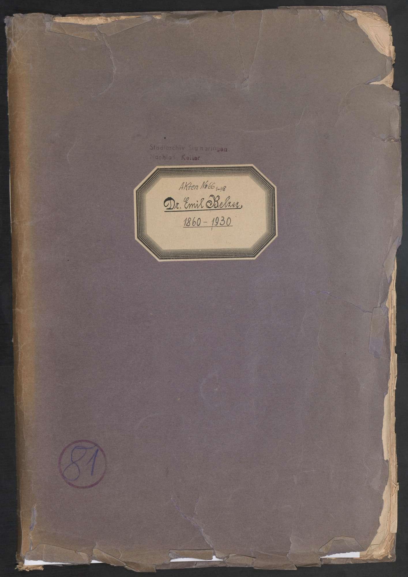 Dr. Emil Belzer, Regierungspräsident (1860 - 1930), Bild 1