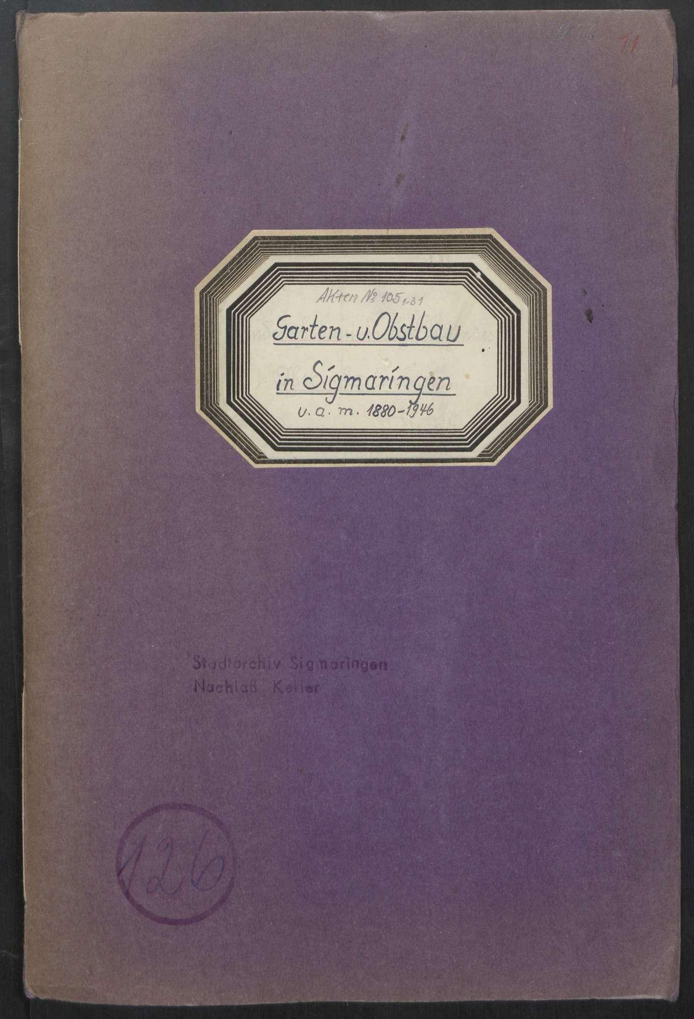 Garten- und Obstbau in Sigmaringen u. a. m. (1880 - 1946), Bild 1