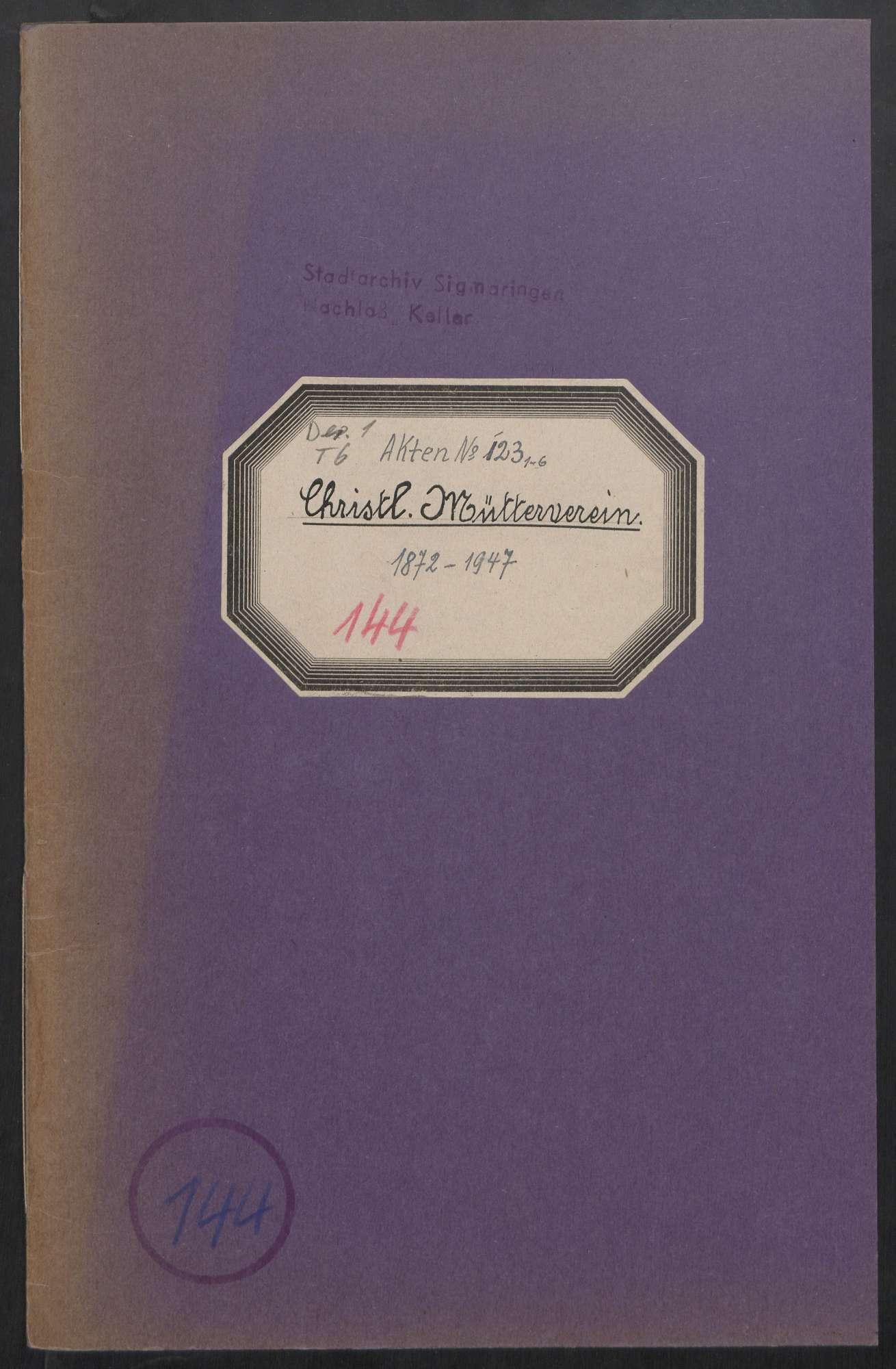 Christlicher Mütterverein (1872 - 1947), Bild 1