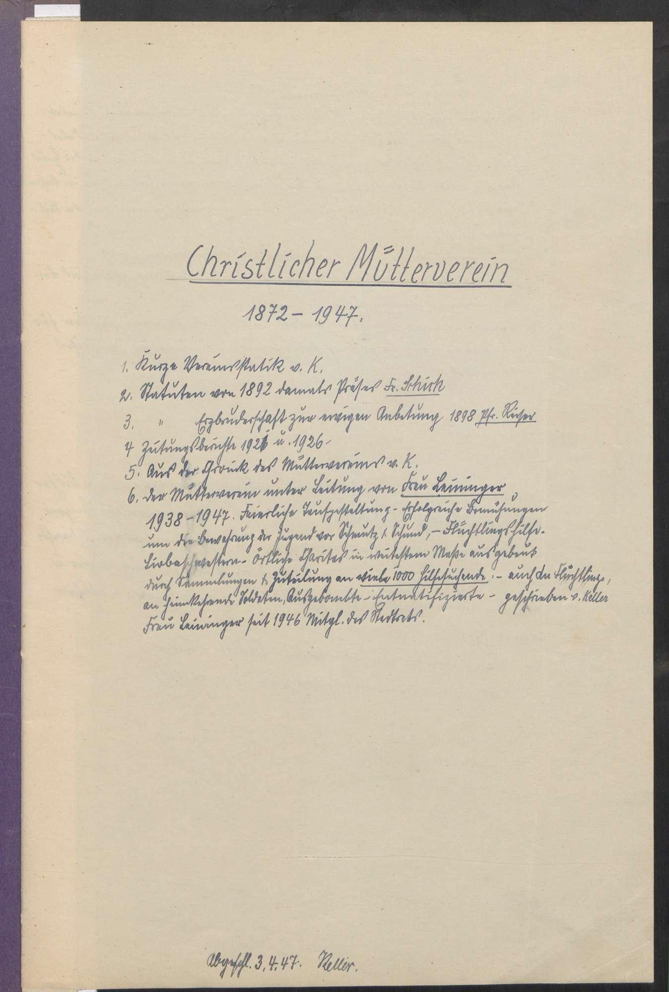 Christlicher Mütterverein (1872 - 1947), Bild 2