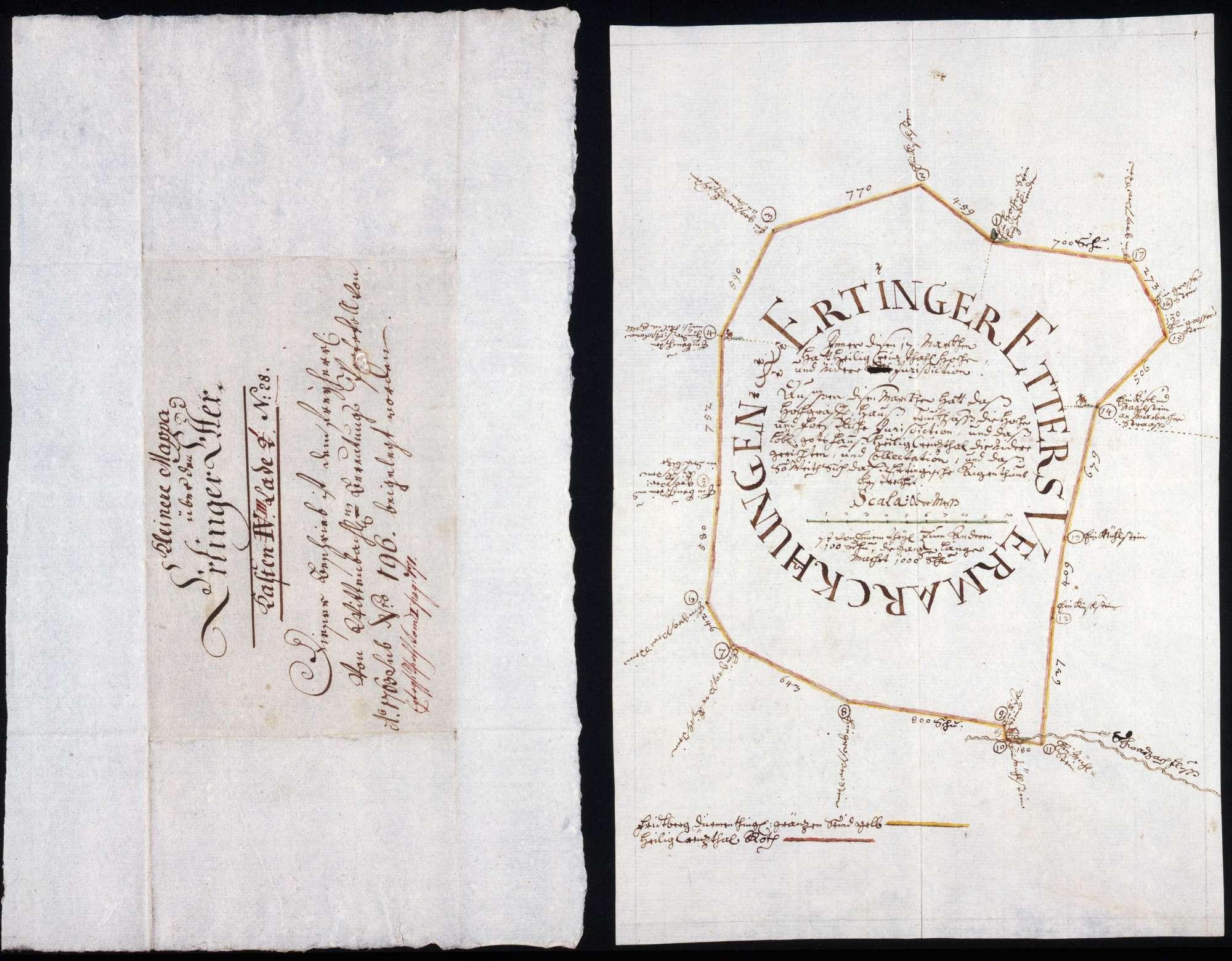 Jurisdiktions- und Forstmarken des Ertinger Etters mit Kloster Heiligkreuztal, Bild 1