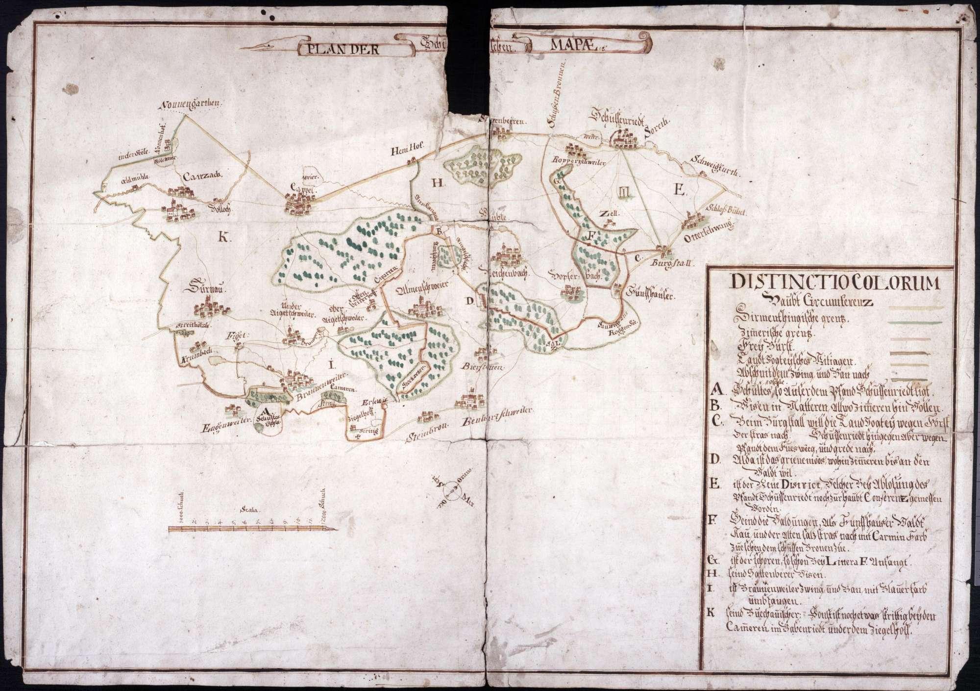 """Schussenried Maßstab ca. 1 : 300000 col. handgez. (Da der Zipfel bei Otterswang als der """"neue Distrikt"""" bezeichnet wird, der bei der Ablösung des Pfandes Schussenried noch zur Hauptcircumferenz zugemessen wurde, so muss die Karte bald nach 1744/47 gefertigt worden sein), Bild 1"""