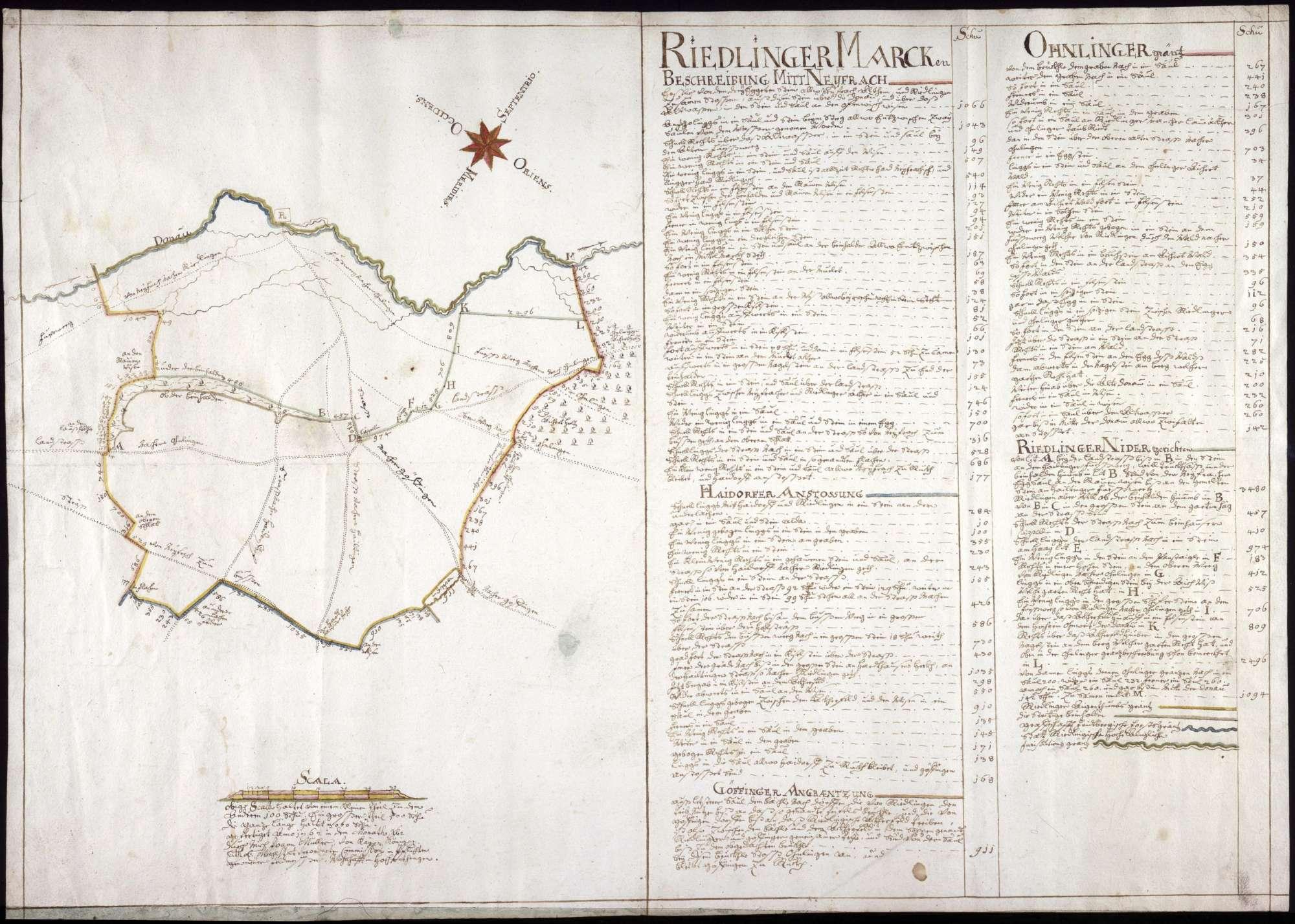 Niedergerichts- und Eigentumsmarken der Stadt Riedlingen Maßstab ca. 1 : 10000 Zeichner Johann Müller col. handgez., Bild 1