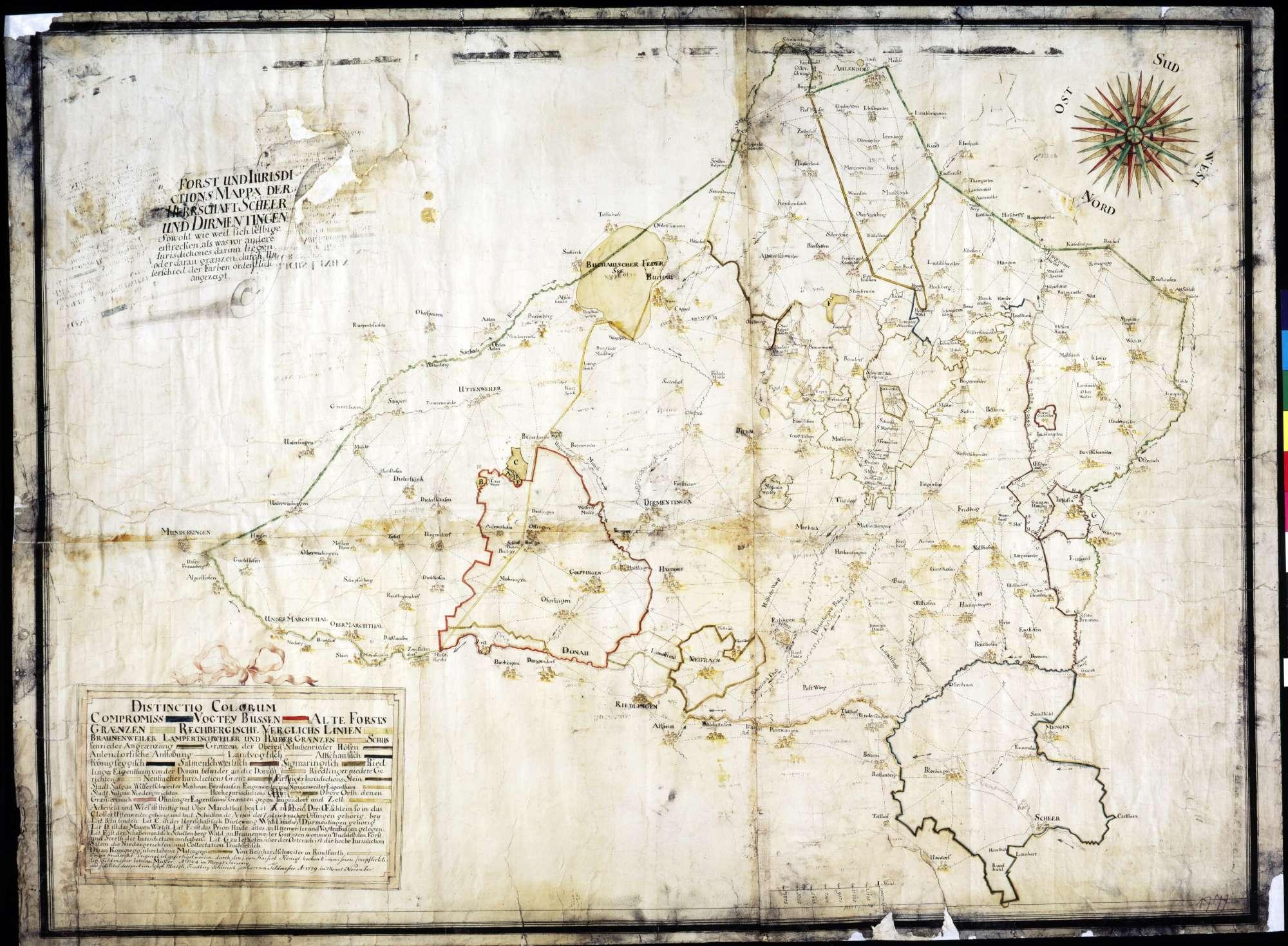 Forst- und Jurisdiktionskarte der Herrschaften Scheer und Dürmentingen Kopie der Karte von 1764 von Johann Müller Maßstab ca. 1 : 42000 Zeichner: Joseph Musch col. handgez., Bild 1