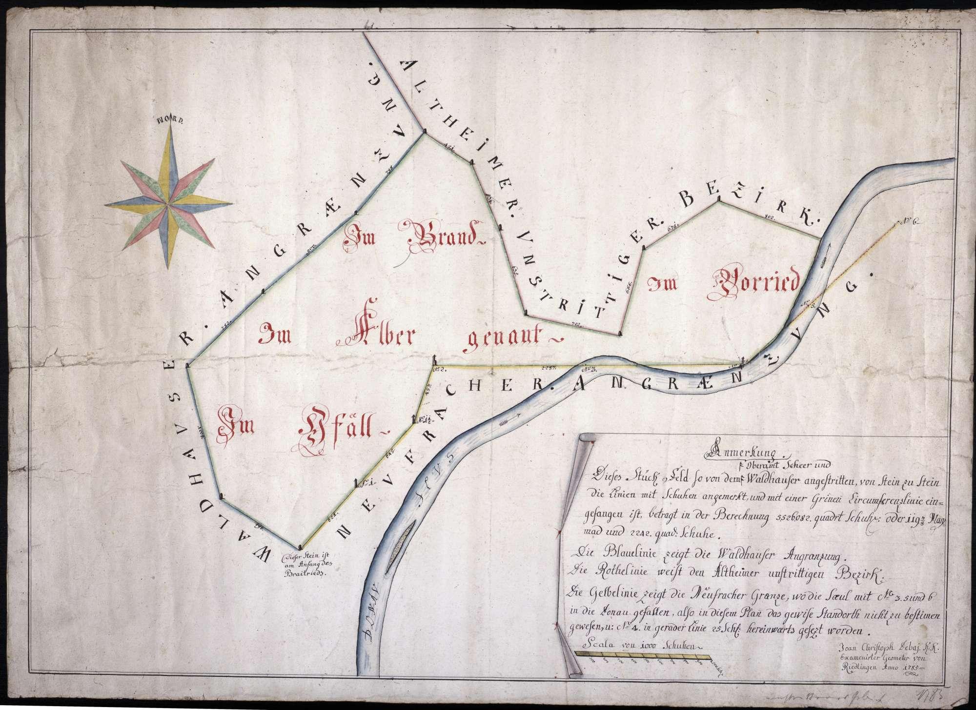 strittiges Feldstück zwischen der Gemeinde Waldhausen und dem Oberamt Scheer Maßstab ca. 1 : 3300 Zeichner Jean Christophe de Pai col. handgez., Bild 1