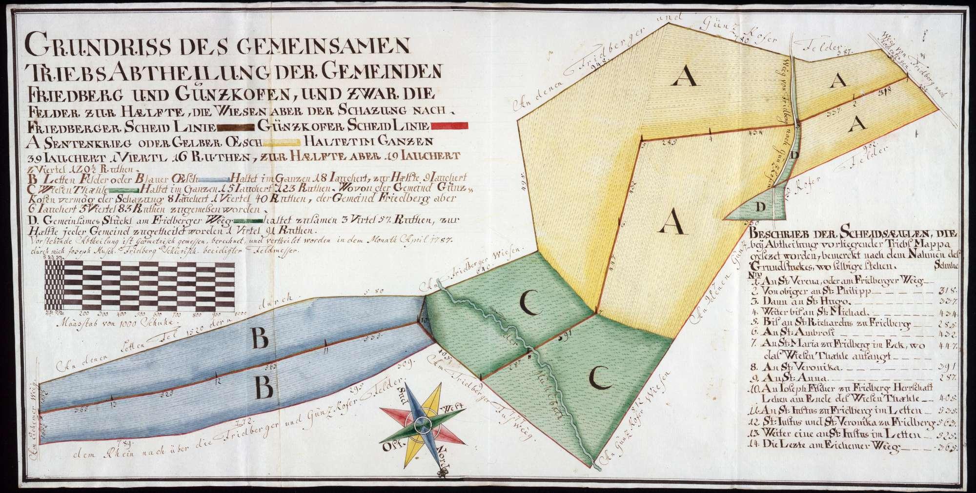 Gemeinsamer Viehtrieb der Gemeinden Friedberg und Günzkofen Maßstab ca. 1 : 2000 Zeichner: Joseph Musch col handgez., Bild 1