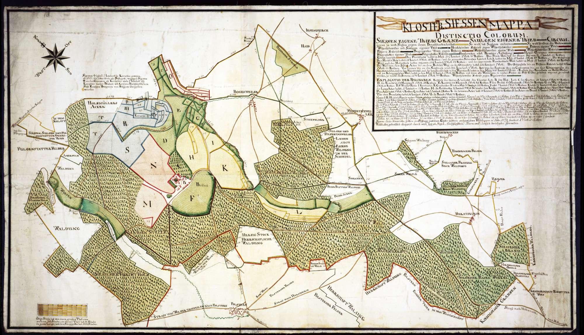 Kloster Sießen mit Markung Maßstab ca. 1 : 4200 kopiert von Joseph Musch, Bild 1