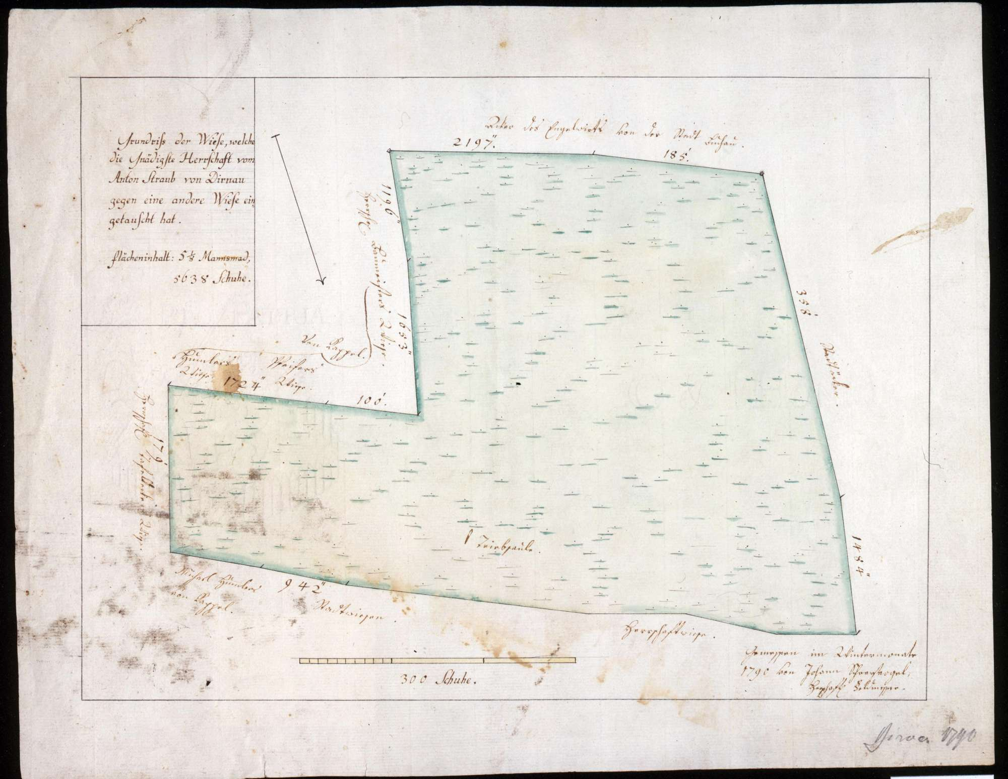 Friedberg-Scheerische Wiese in Dürnau Maßstab ca. 1 : 800 Zeichner: Johann Schreyvogel col. handgez., Bild 1