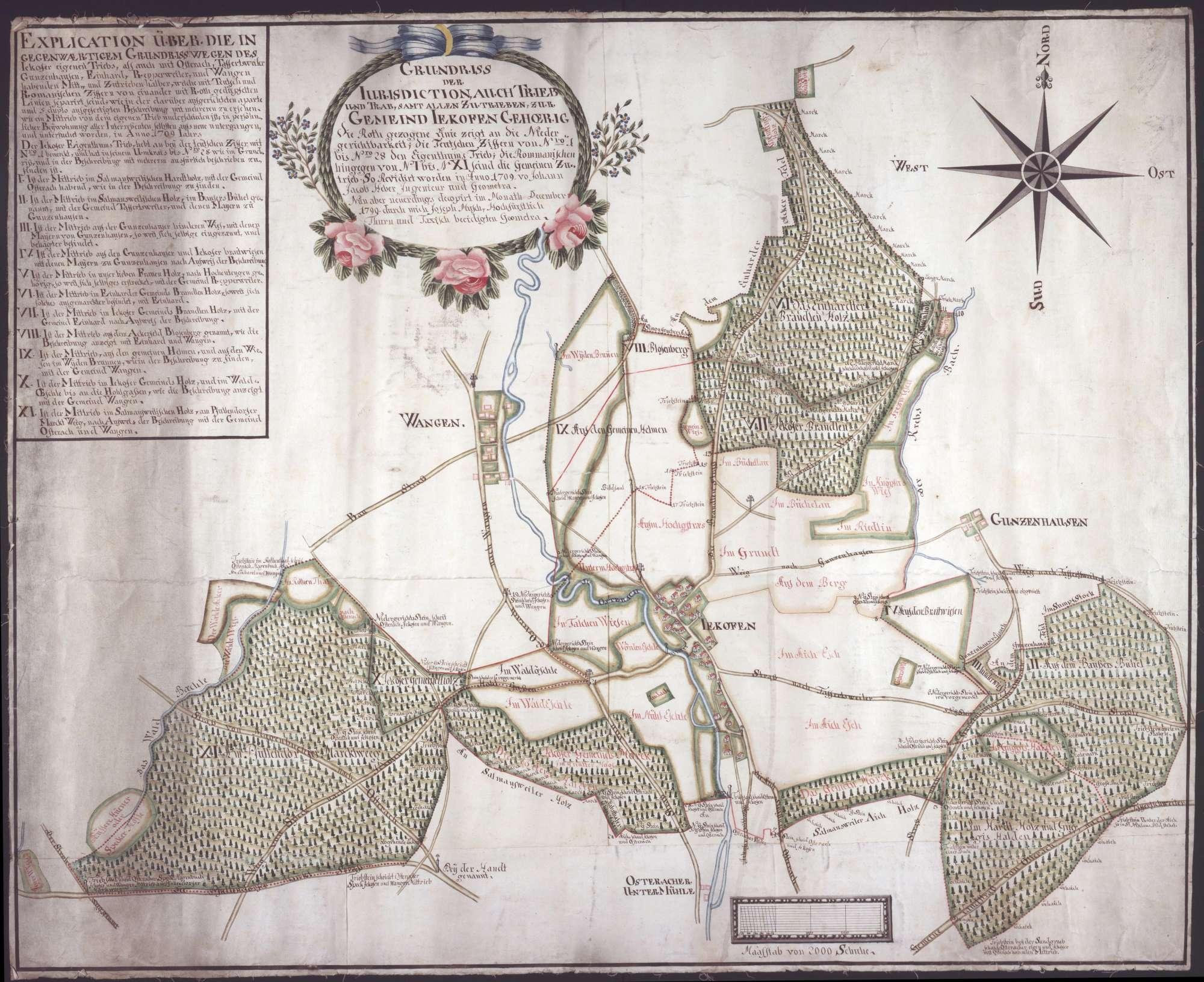 Jettkofen Maßstab ca. 1 : 5000 Zeichner: Joseph Musch col. handgez., Bild 1