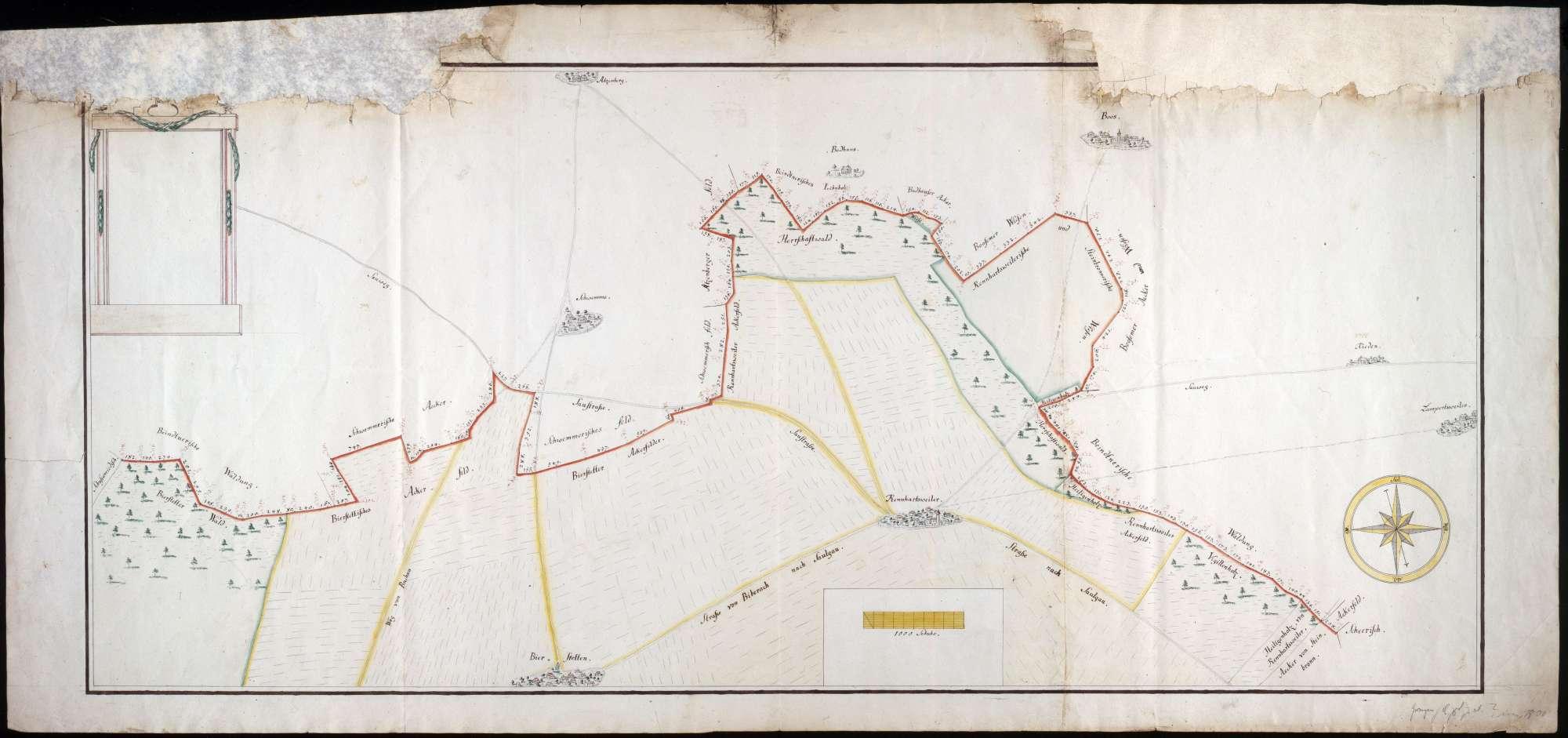 Grenze zwischen Scheer, Saulgau, Buchau und Schussenried Maßstab ca. 1 : 4000 col. handgez., Bild 1