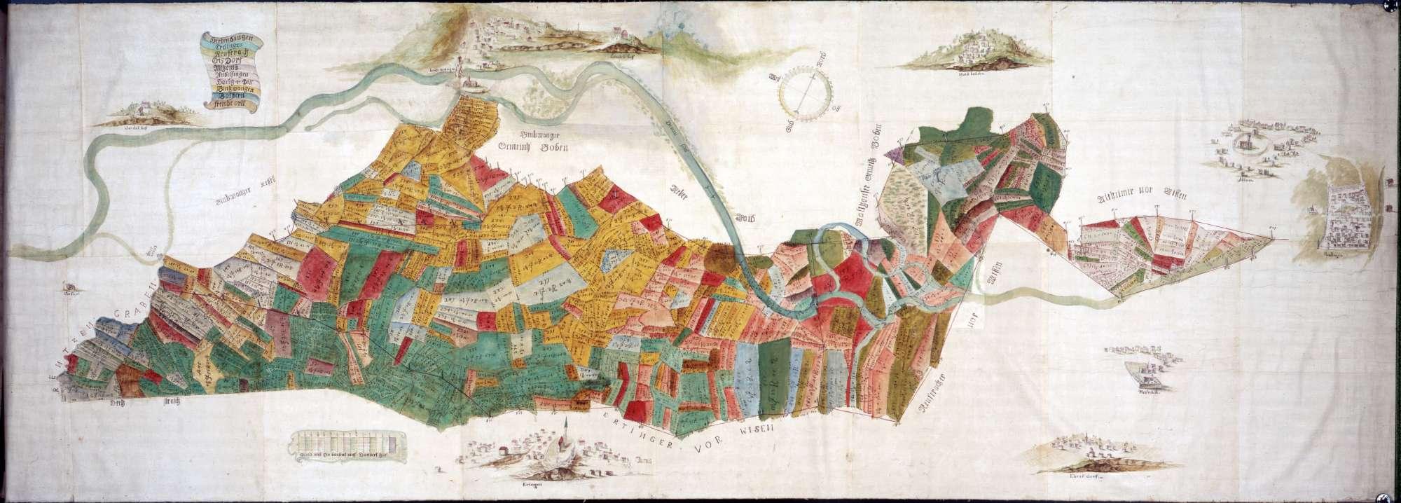 Karte des Breitriedes (sw. Riedlingen) Mit Ortsansichten Riedlingen, Neufrach, Ehrisdorf und Waldhausen Maßstab ca. 1 : 27000 col. handgez., Bild 1