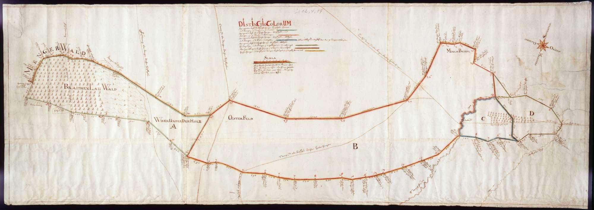Gemeiner Trieb von Hohentengen, Beizkofen, Bremen und Mengen Maßstab ca. 1 : 4000 col. handgez., Bild 1