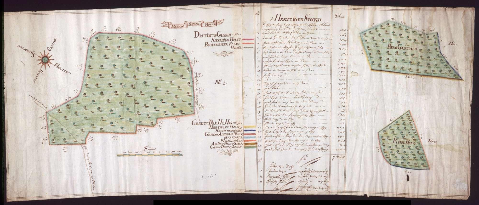 Waldungen Herzigen Stock, Berggarten und Kohlholz (zwischen Bolstern und Kleinsießen) Maßstab ca. 1 : 2500 col. handgez., Bild 1