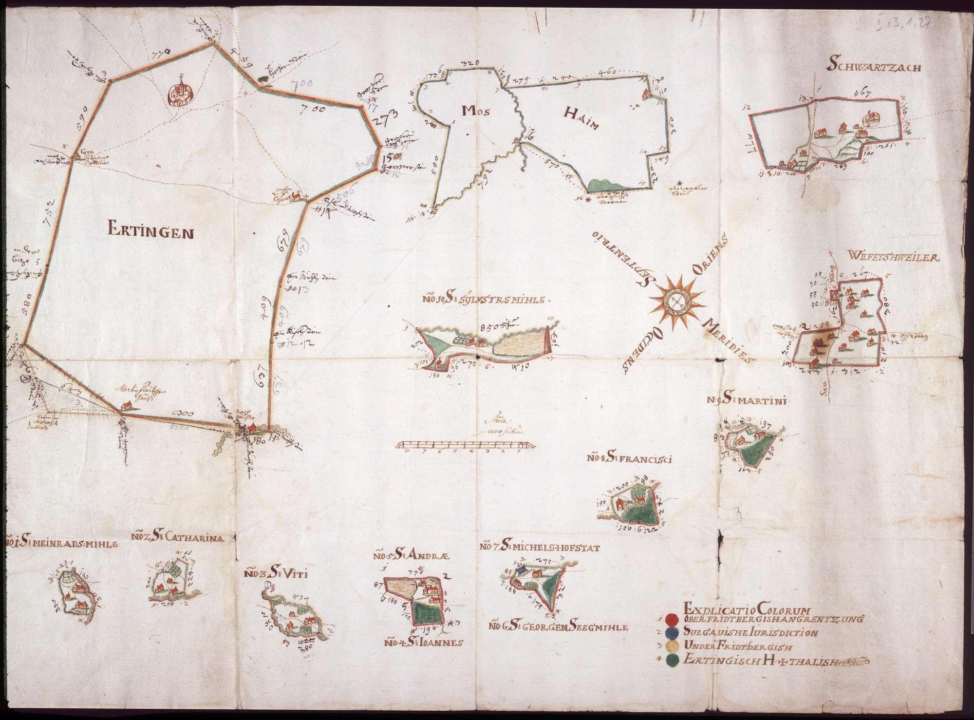 Etter zur Ertingen, Moosheim, Wilfertsweiler und Schwarzach Maßstab ca. 1 : 50000 col. handgez., Bild 1