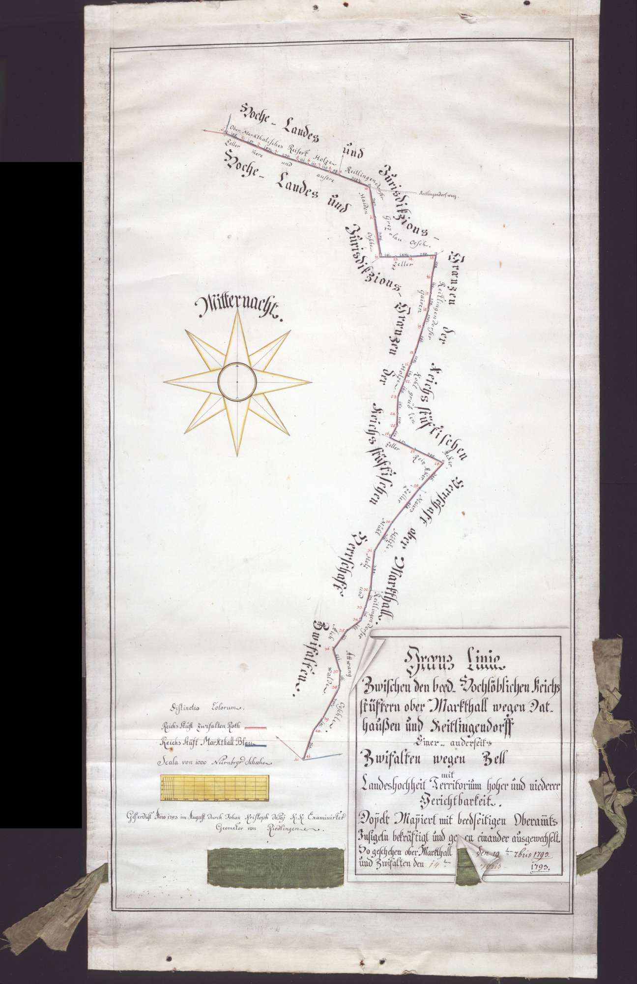 Grenzlinie zwischen Dattenhausen und Zell Maßstab ca. 1 : 3500 Zeichner: Jean Christophe de Pai col. handgez., Bild 1