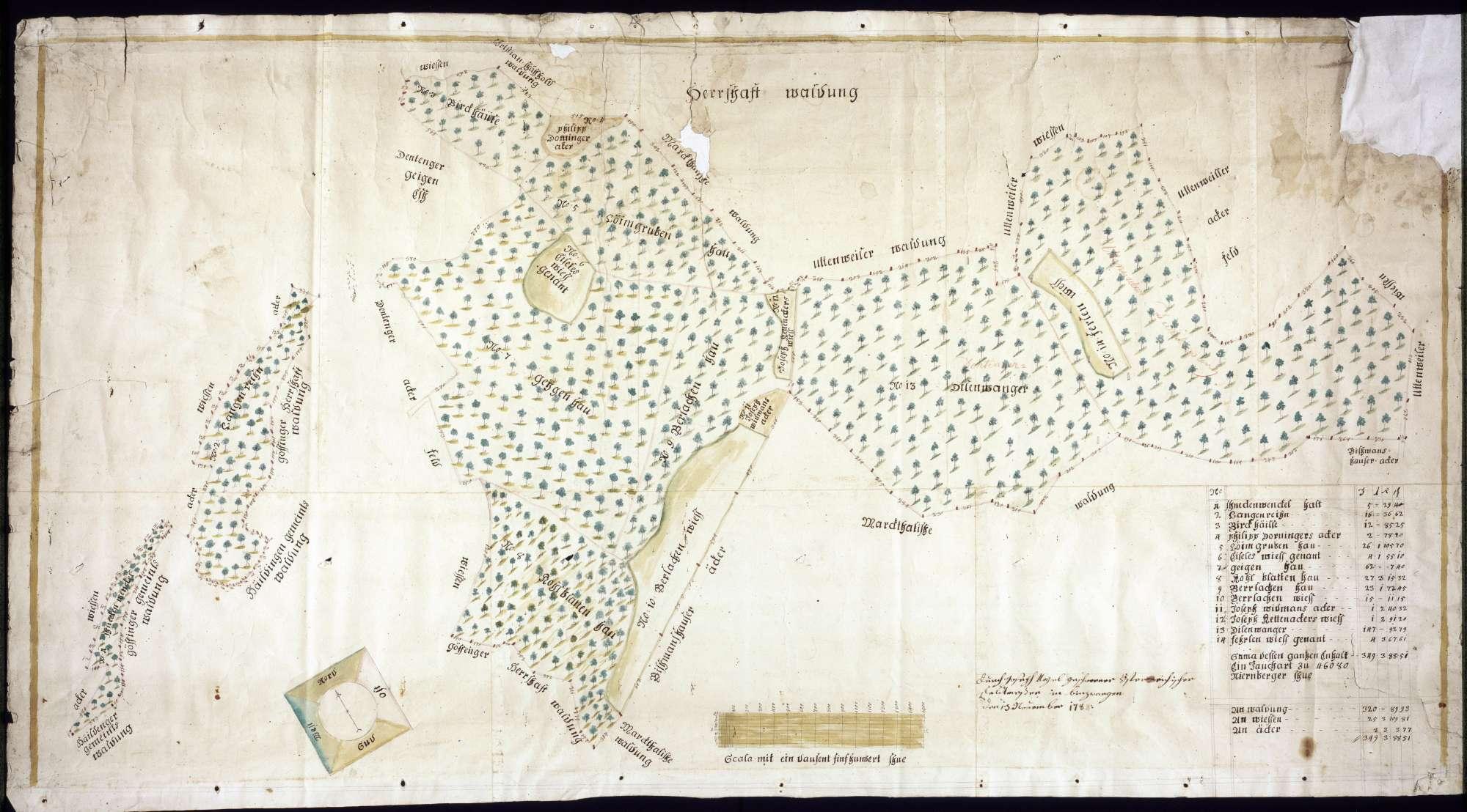 Herrschaftswaldungen im Göffinger und Uttenweiler Bezirk Maßstab ca. 1 : 2500 Zeichner: Joseph Nagel col. handgez., Bild 1