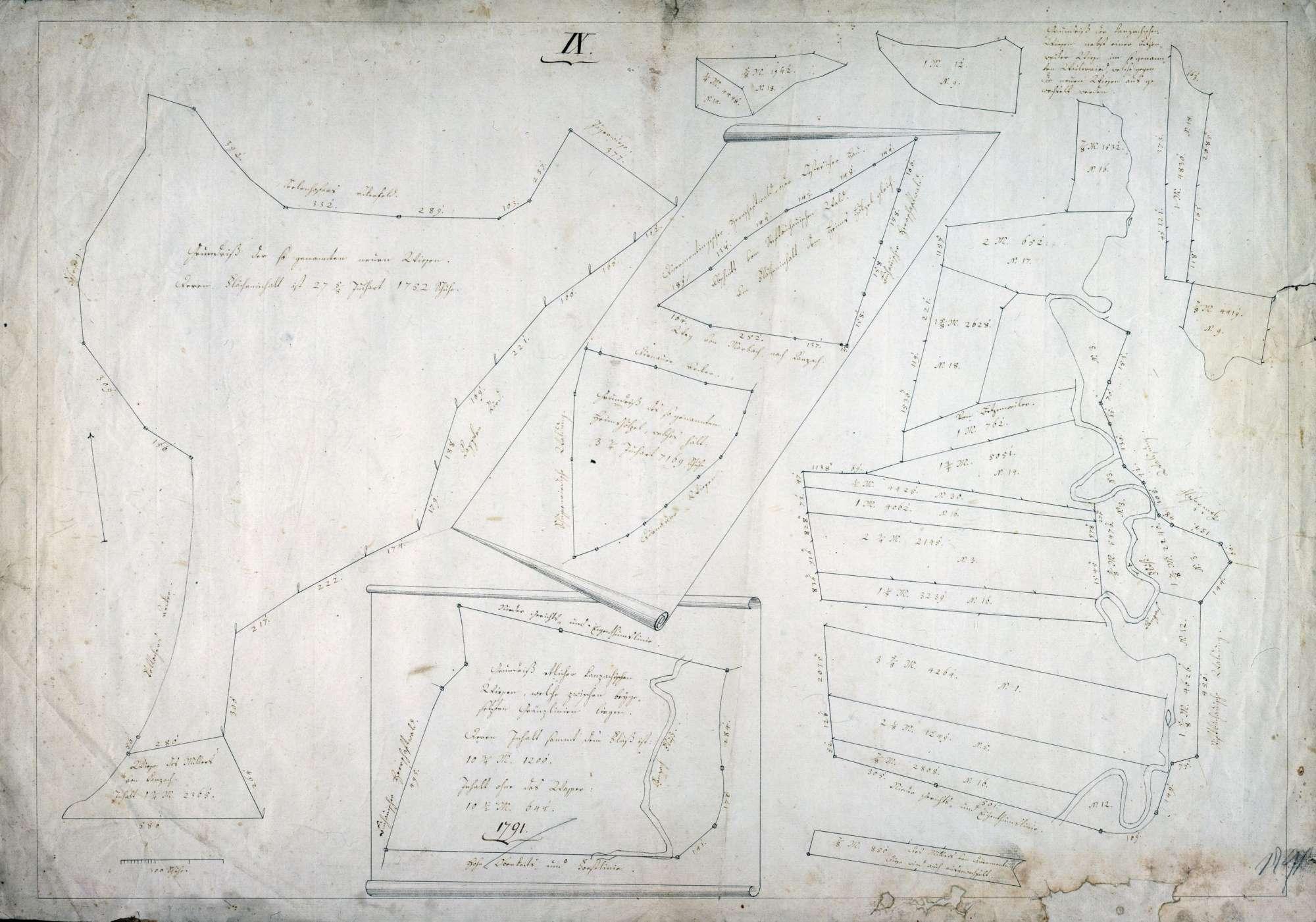 Kanzacher und Betzenweiler Wiese im Weitried Maßstab ca. 1 : 1 : 1600 col. handgez., Bild 1