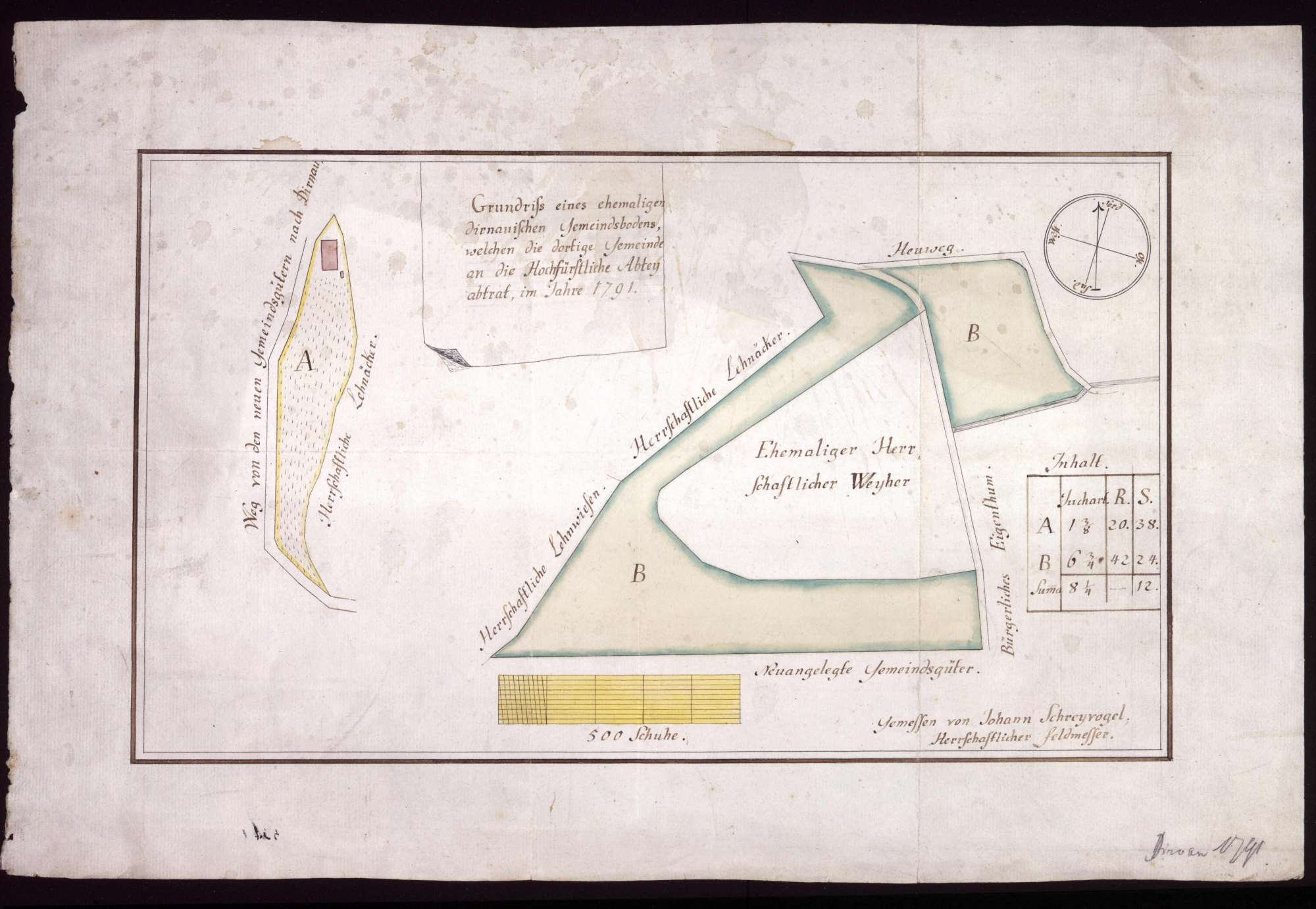 Verkauf von Dürnauischem Gemeindeboden an das Stift Buchau Maßstab ca. 1 : 1600 Zeichner: Johann Schreyvogel col. handgez., Bild 1