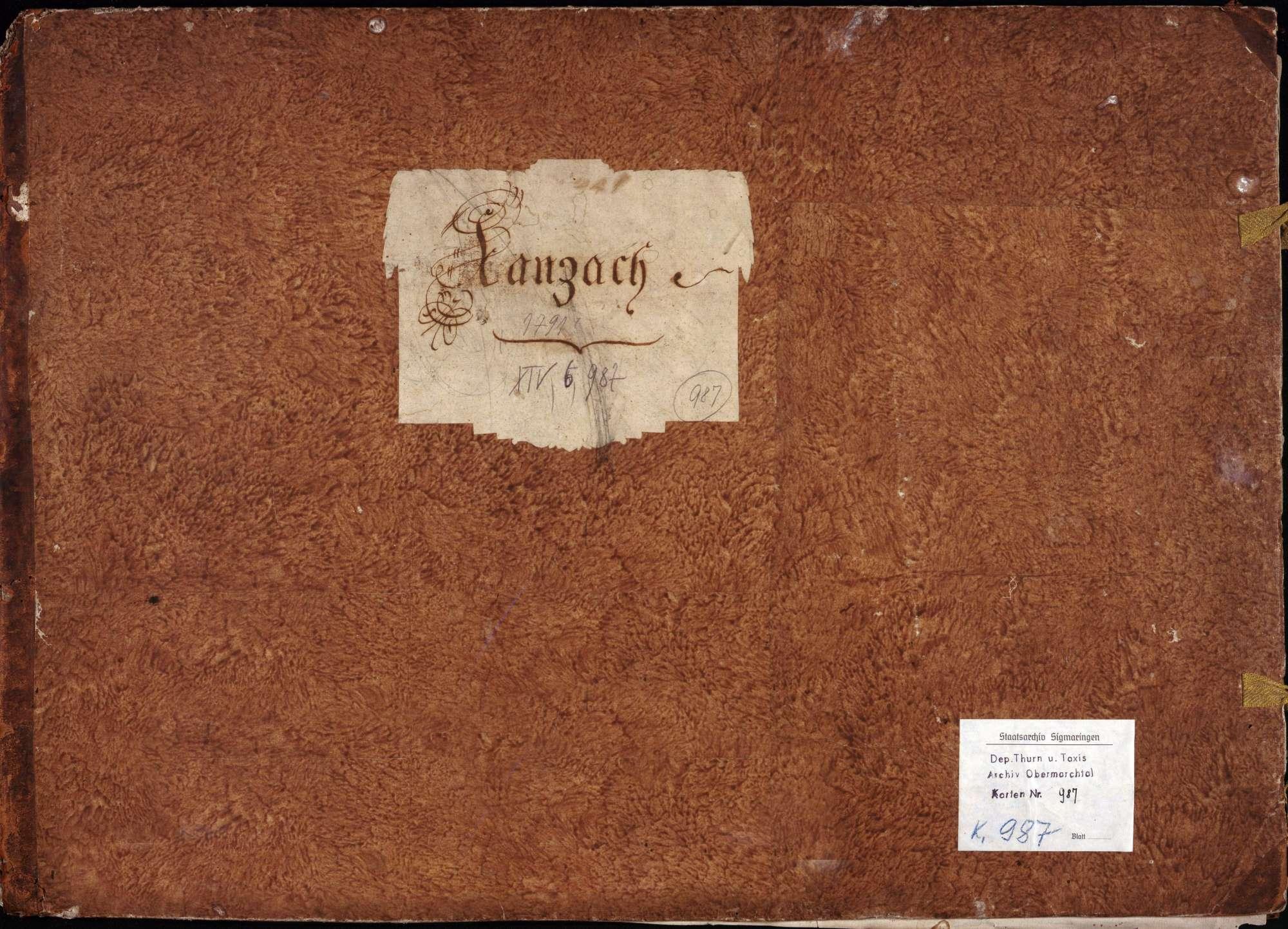 Forst- und Jurisdiktionsbeschreibung von Kanzach 11 Zeichnungen in einer Mappe unterschiedliche Maßstäbe col. handgez., Bild 1