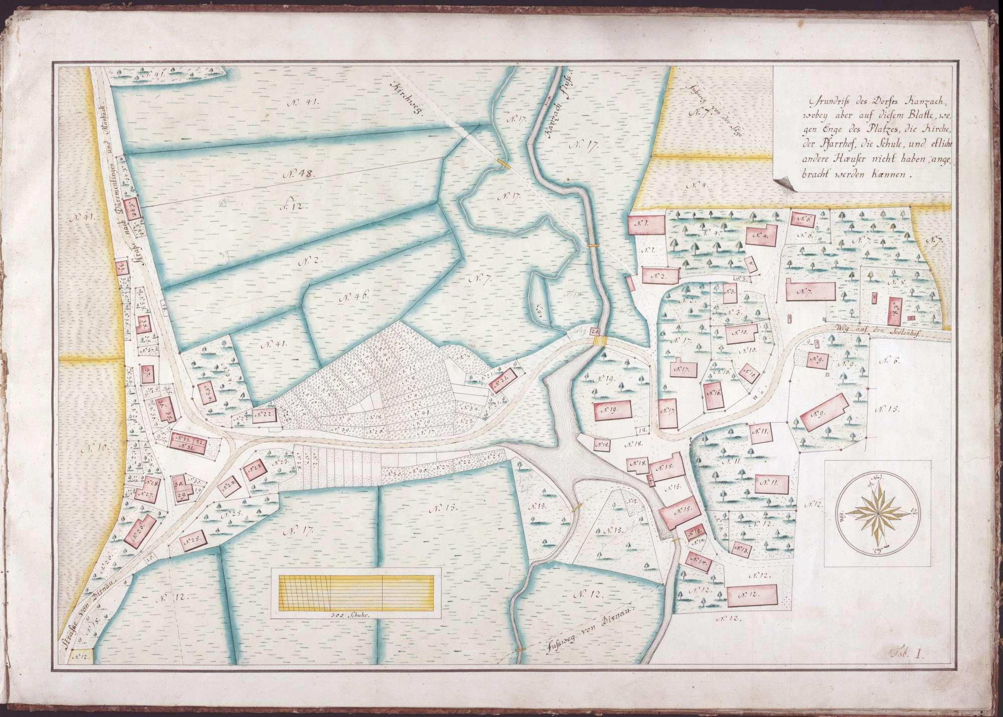 Forst- und Jurisdiktionsbeschreibung von Kanzach 11 Zeichnungen in einer Mappe unterschiedliche Maßstäbe col. handgez., Bild 2