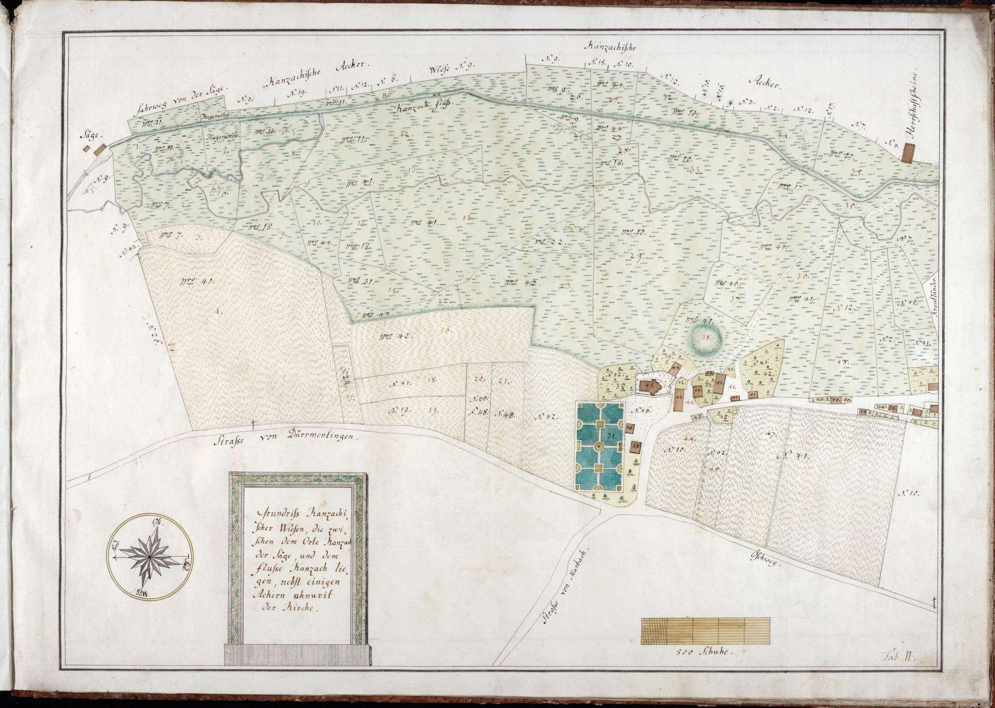 Forst- und Jurisdiktionsbeschreibung von Kanzach 11 Zeichnungen in einer Mappe unterschiedliche Maßstäbe col. handgez., Bild 3