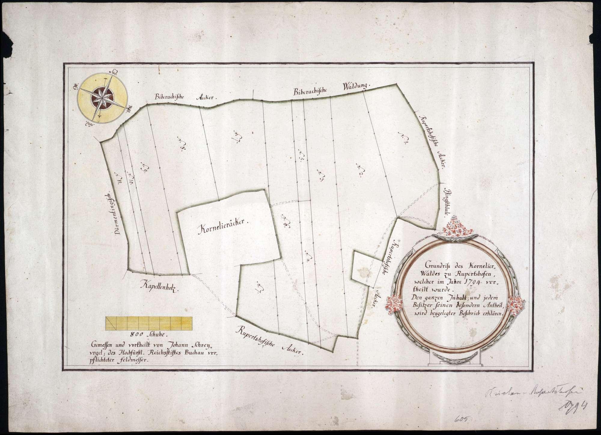 Kornelierwald zu Rupertshofen Maßstab ca. 1 : 3000 Zeichner: Johann Schreyvogel col. handgez., Bild 1