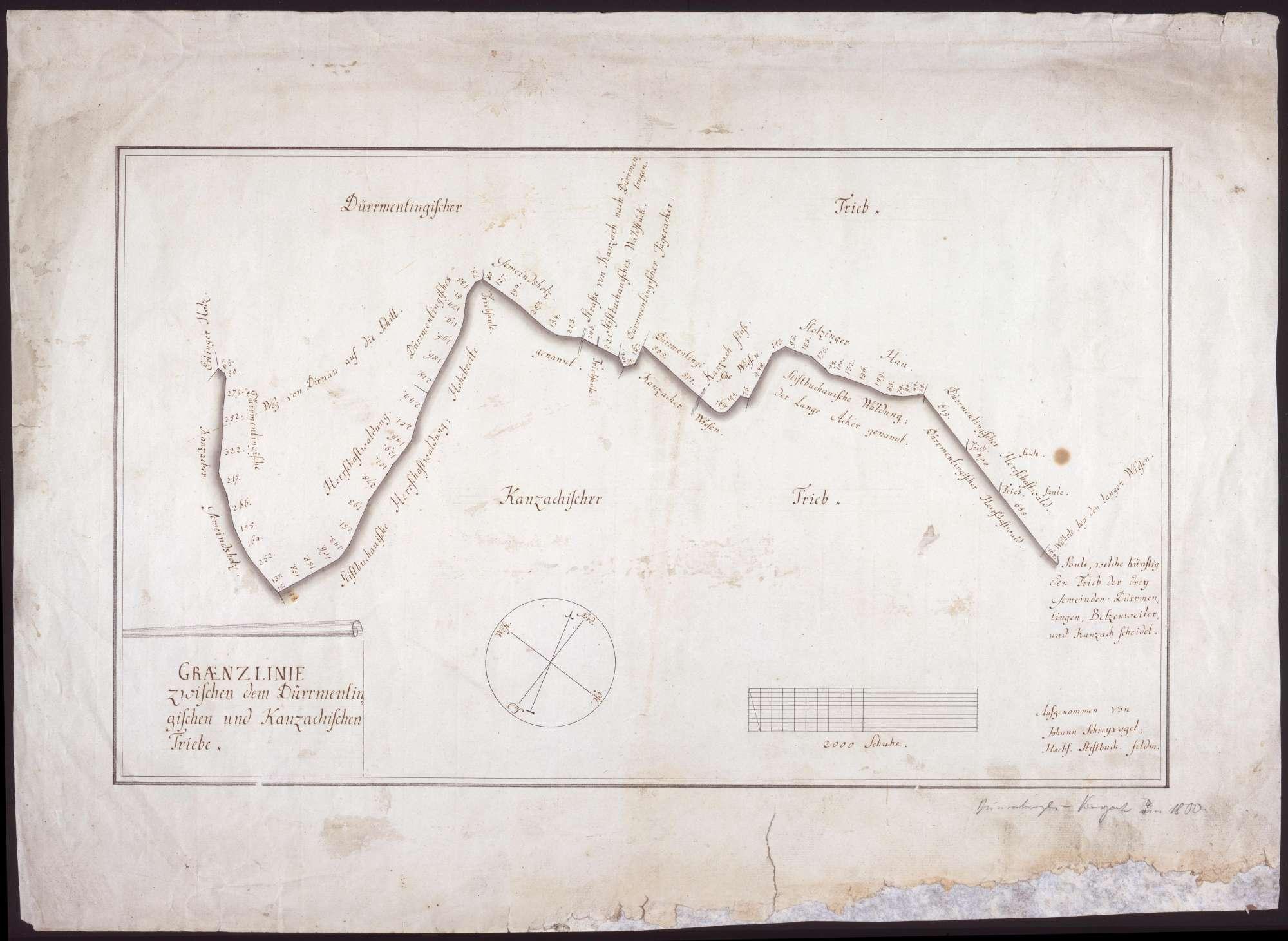 Grenzlinie zwischen dem Dürmentingischen und dem Kanzachischen Trieb Maßstab ca. 1 : 5000 Zeichner: Johann Schreyvogel col. handgez., Bild 1