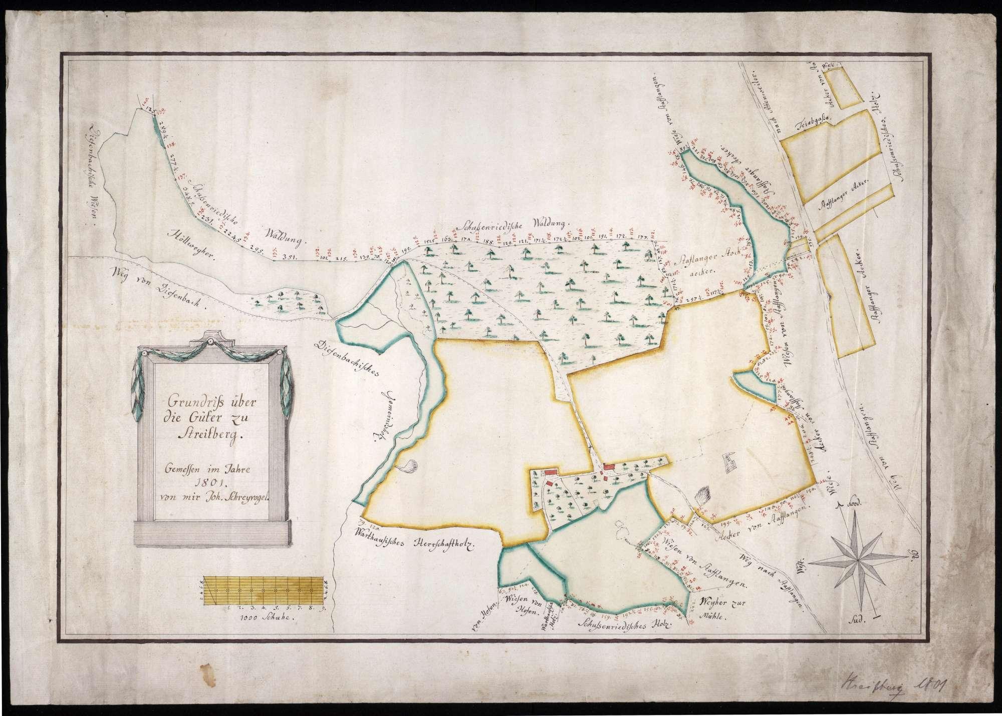 Streitberg Maßstab ca. 1 : 400 Zeichner: Johann Schreyvogel col. handgez., Bild 1