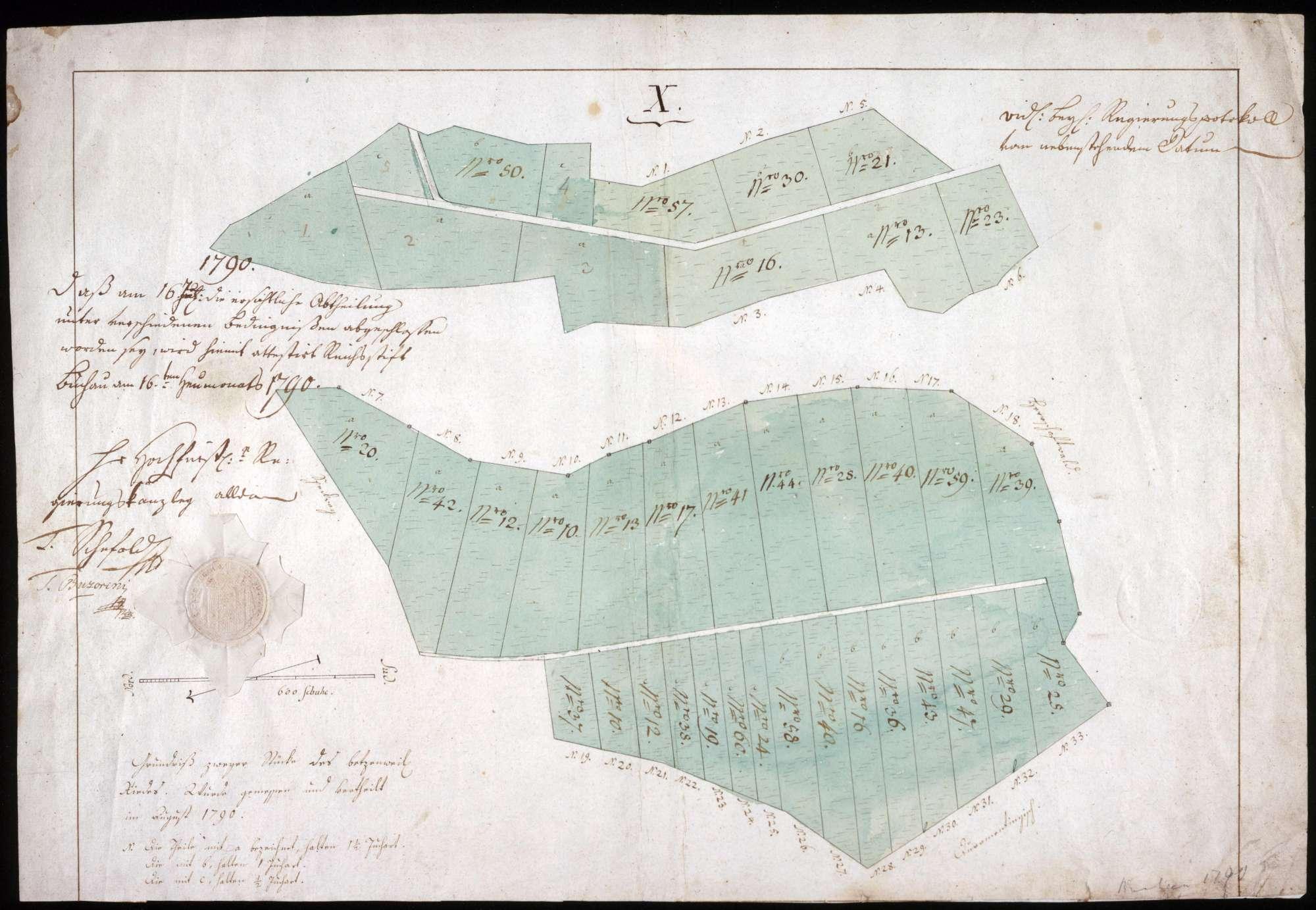 Grundriß zweier Grundstücke im Betzenweiler Ried mit Attest der Regierungskanzlei Maßstab ca. 1 : 1600 col. handgez., Bild 1