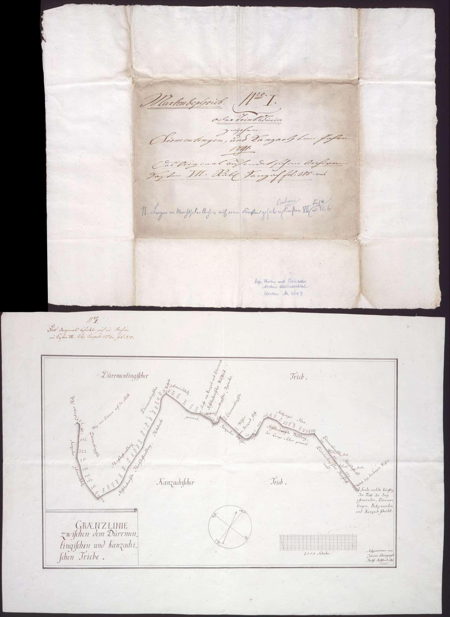 Grenzlinie zwischen dem Dürmentingischen und dem Kanzachischen Triebe Maßstab ca. 1 : 5000 Zeichner: Johann Schreyvogel col. handgez., Bild 1