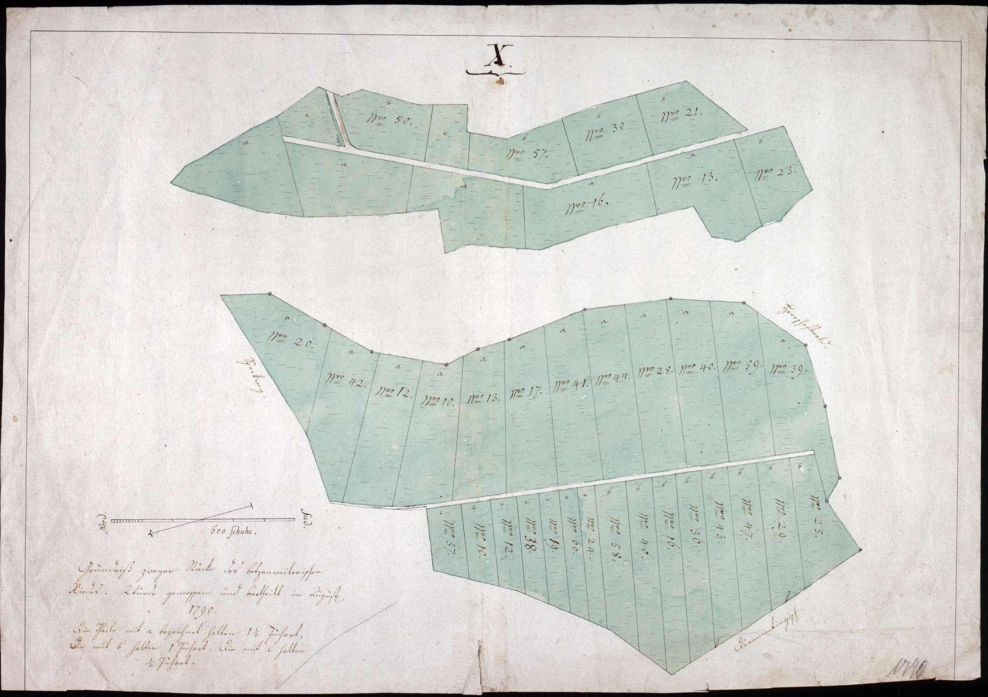Grundriß zweier Grundstücke im Betzenweiler Ried ohne Attest der Regierungskanzlei Maßstab ca. 1 : 1600 col. handgez., Bild 1