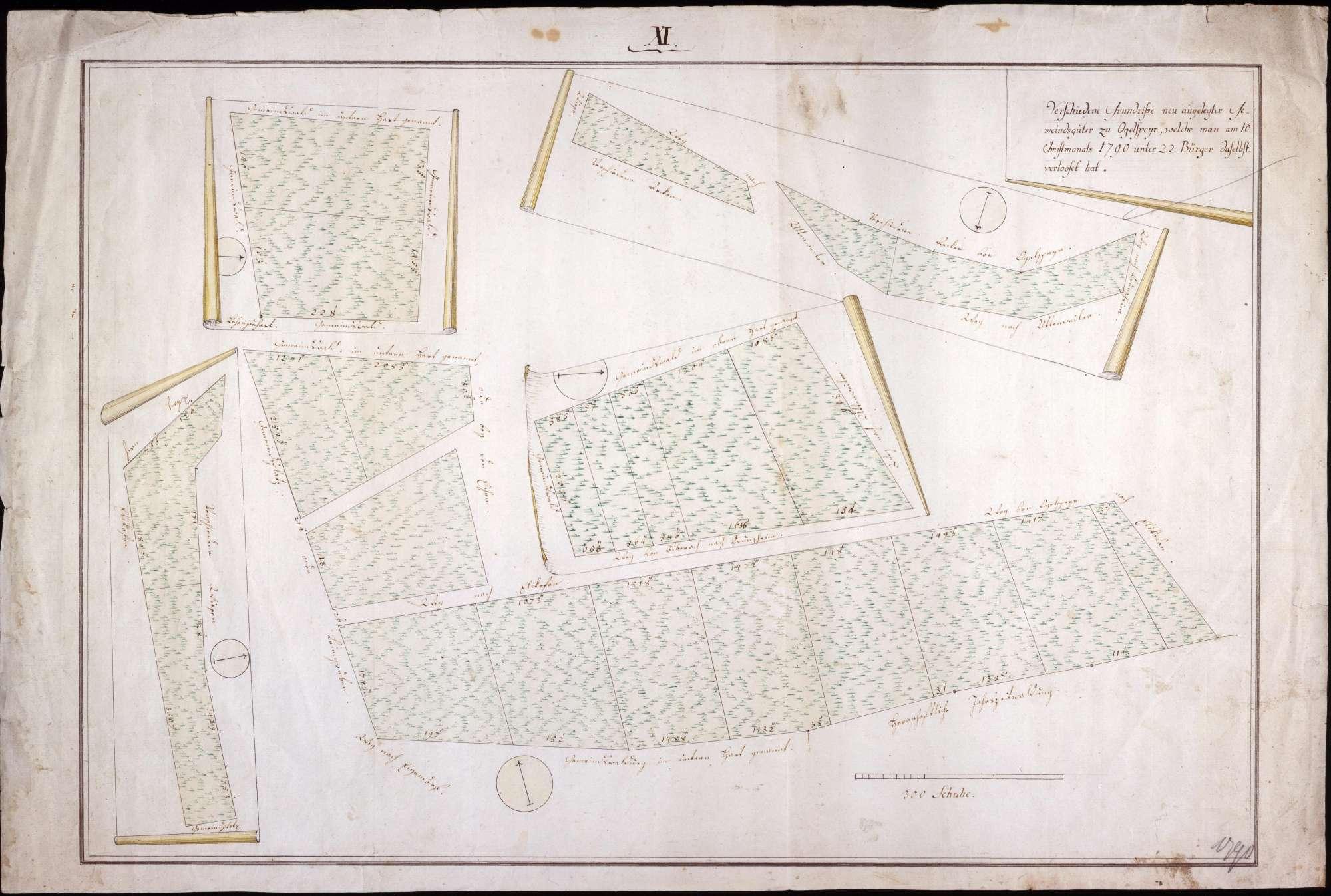 Gemeindegüter zu Oggelsbeuren Maßstab ca. 1 : 800 col. handgez., Bild 1