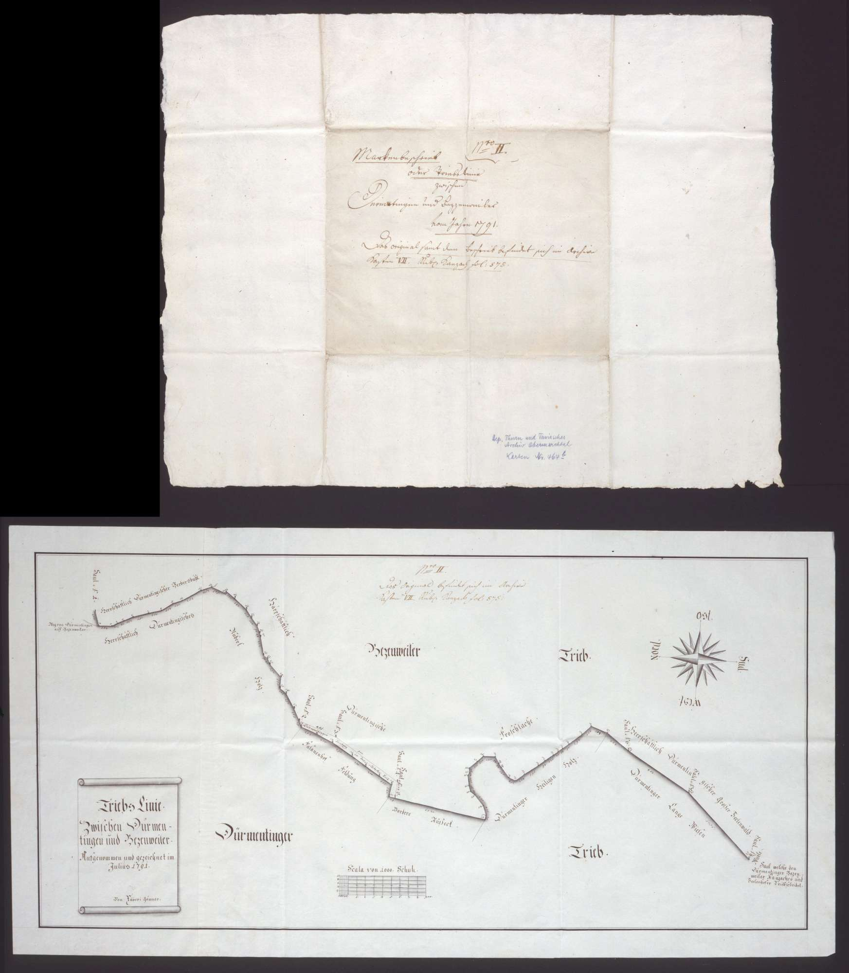 Trieblinie zwischen Dürmentingen und Betzenweiler Maßstab ca. 1 : 3300 Zeichner: Xaver Gönner handgez., Bild 1