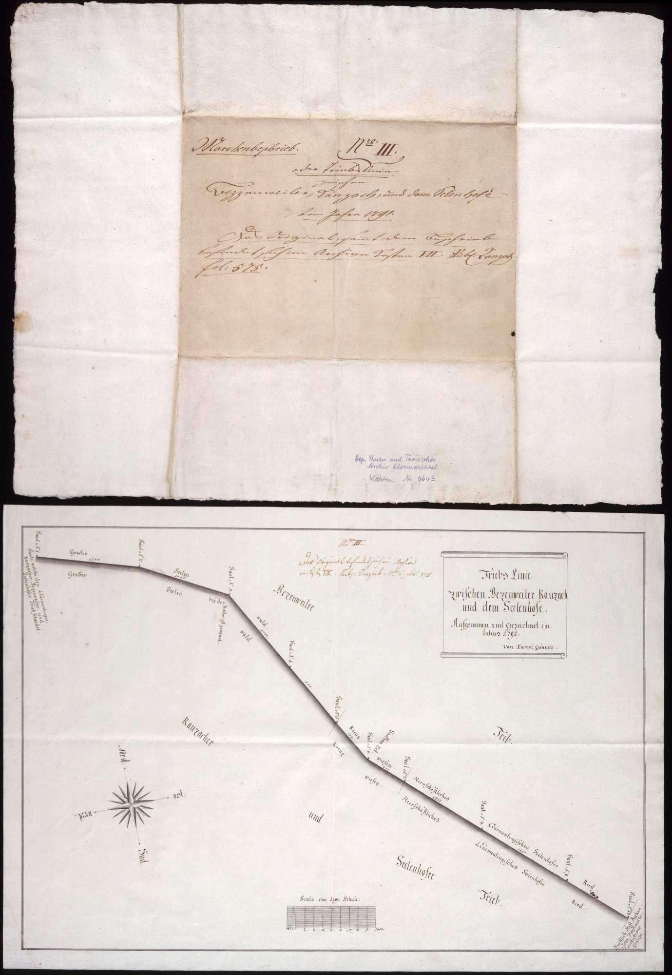 Trieblinie zwischen Betzenweiler, Kanzach und dem Seelenhof Maßstab ca. 1 : 3500 Zeichner: Xaver Gönner handgez., Bild 1