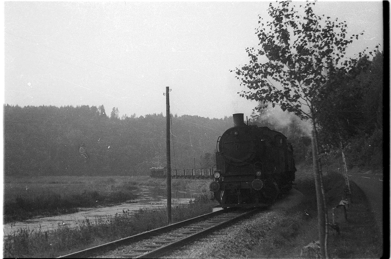 Bei Veringenstadt, Lok 15, Güterzug 313, Güterwagen mit Holzaufbau, Bild 1