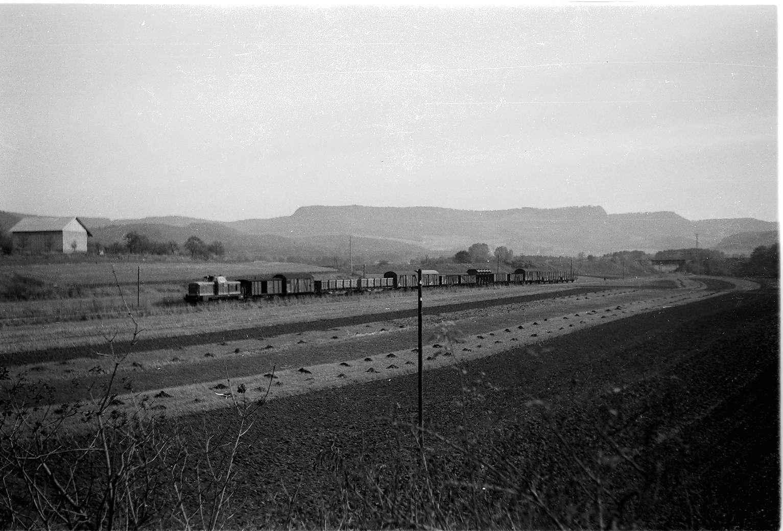 Güterzug 304 mit Diesellok V81 mit Packwagen und Personenwagen, bei Hechingen mit Schlatter Wand, Bild 1