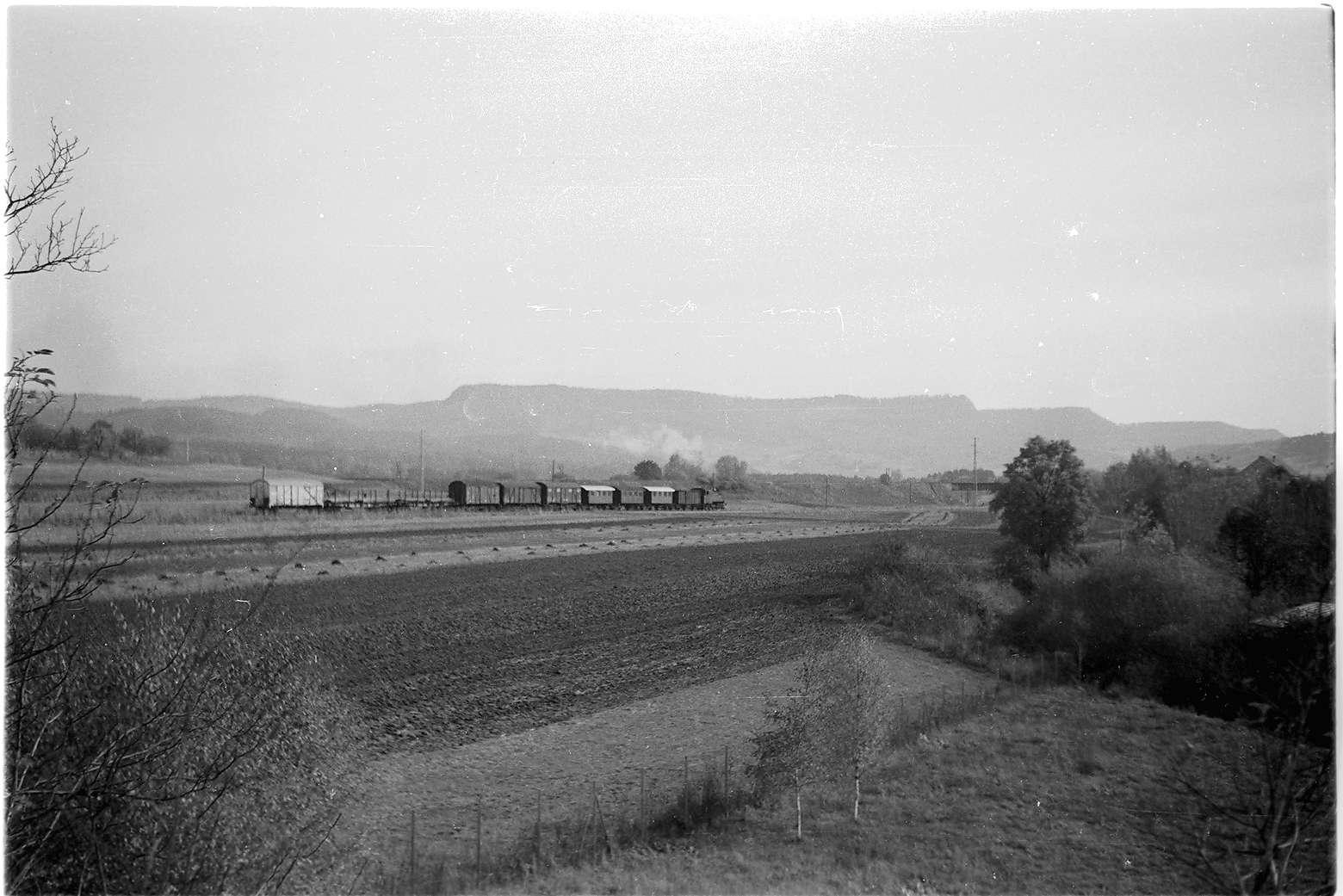 Zug 305, Lok 16 Richtung Schlatt mit Albtrauf, Bild 1