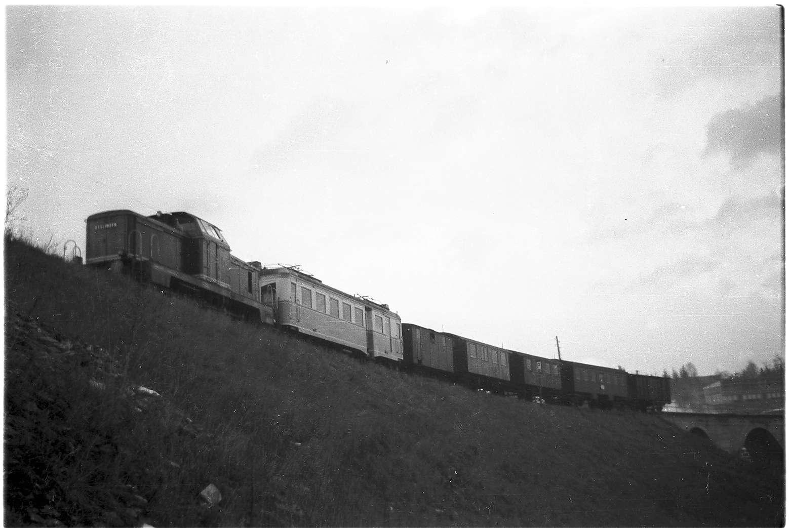 Abtransport des Triebwagens ET 3 der Trossinger Eisenbahn von Gammertingen, mit Diesellok V81 Güterzug mit Personenbeförderung GmP 316, Foto veröffentlicht 2002, Bild 1
