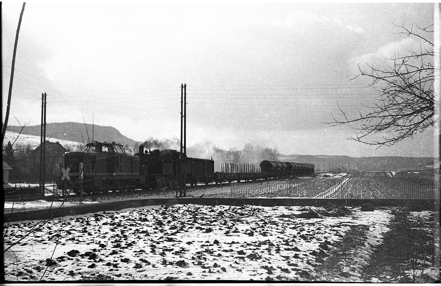 Diesellok V81 und Lok 15, beides Esslinger Fabrikate, bei Burladingen, Ganzzug mit Roheisen für Laucherthal und Salzwagen von Stetten bei Haigerloch, den Hauptfrachtkunden der Landesbahn, Bild 1