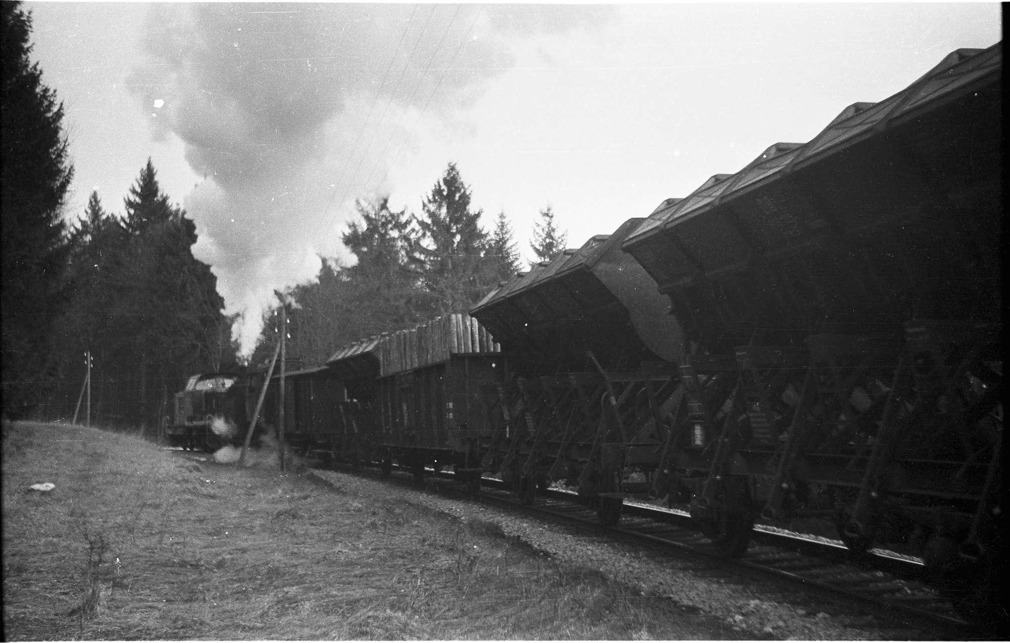Diesellok V 82 und Dampflok 15, 313/ 308 b, Strecke Neufra - Gammertingen, Packwagen werden in den Güterzügen bis 1990 mitgeführt, seit 2005 Einmannbetrieb, Bild 1