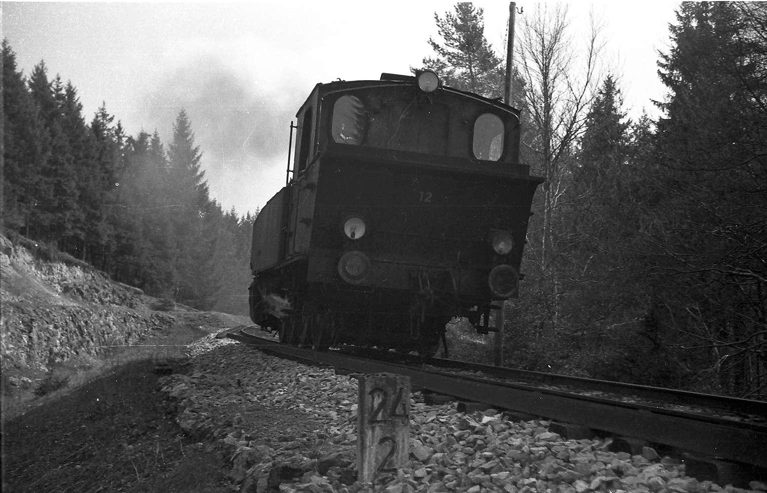 Lok 12, Strecke Gammertingen - Neufra, erste Fahrt nach Neufra, um abgestellte Wagen über die Fehlahöhe zu bringen, Bild 1