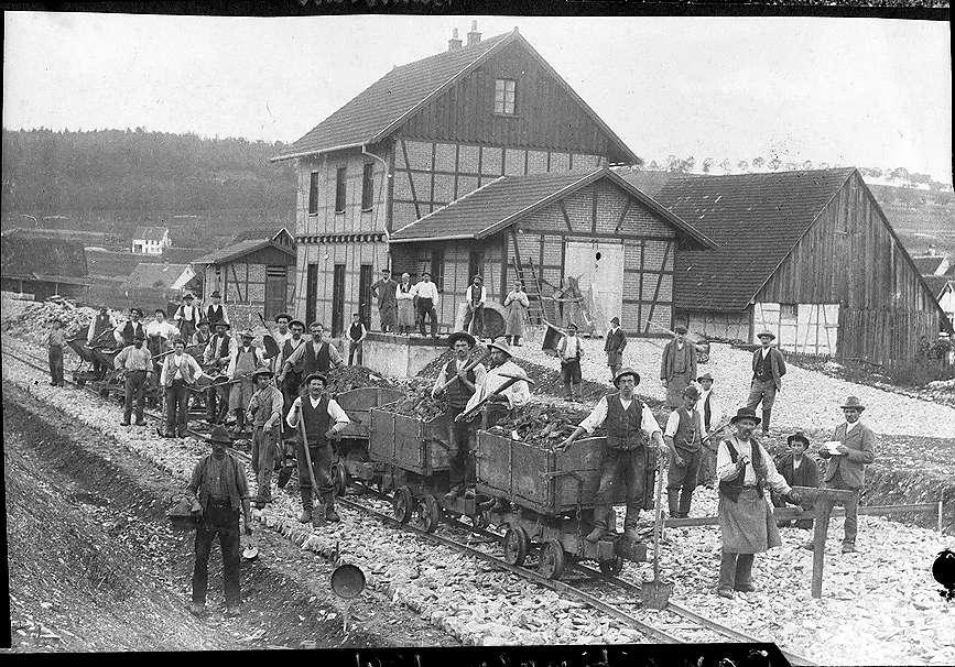 Bau des Bahnhofes Gammertingen, Bild 1