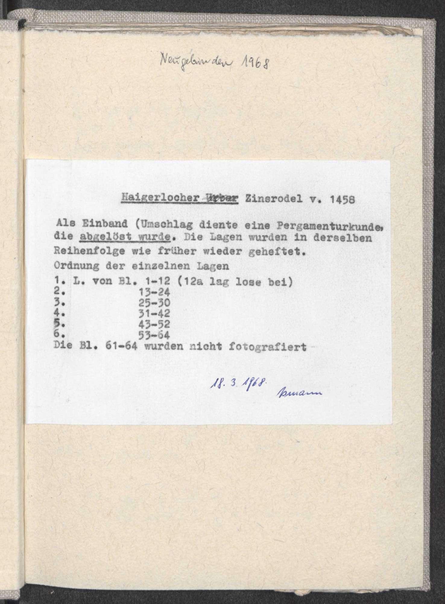 """Zinsrodel der Herrschaft Haigerloch; den Umschlag bildet ein Leibledigungs-Brief des """"Kostmann"""" von Wiesenstetten für 12 fl. durch Friedrich von Weitingen (""""Witingen ein Edelmann""""); im Kontexte ist auch Stetten das Kloster erwähnt, Bild 3"""